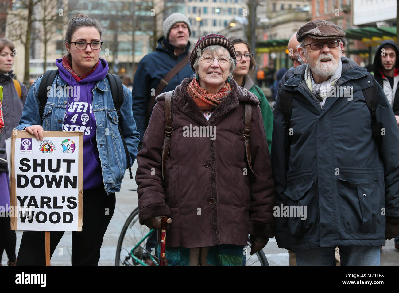 Yarlswood, Manchester. 8th Mar, 2018. On International Women's Day a vigil takes place to show support for men - Stock Image