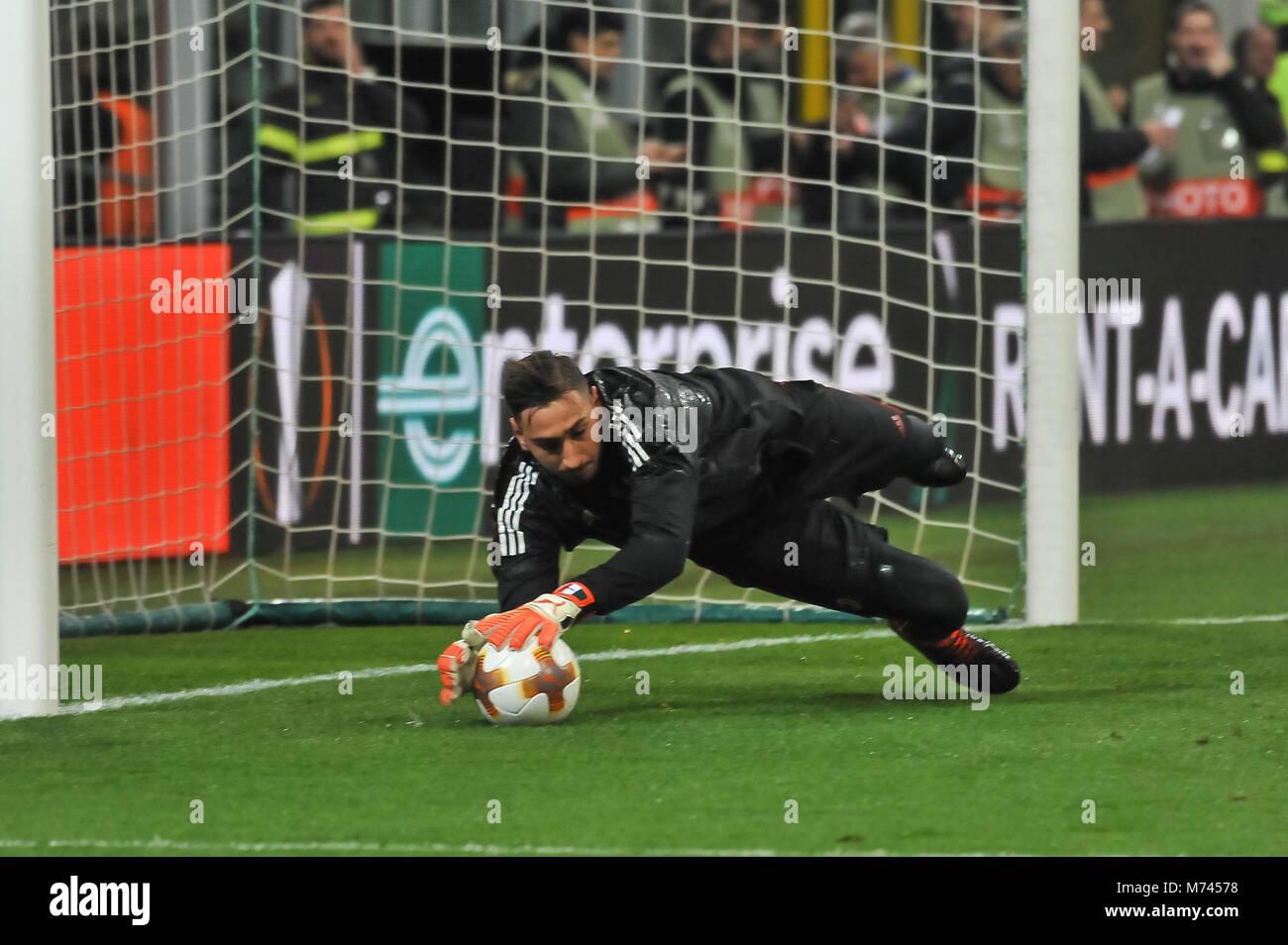 Milan, Italy. 8th March, 2018. Gianluigi Donnarumma (AC Milan) during the match UEFA Europa League between AC Milan Stock Photo