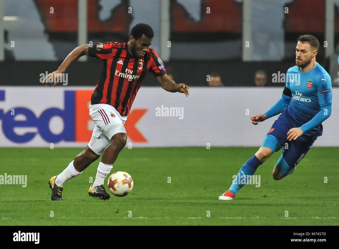 Milan, Italy. 8th March, 2018. Franck Kessie (AC Milan) during the match UEFA Europa League between AC Milan and Stock Photo