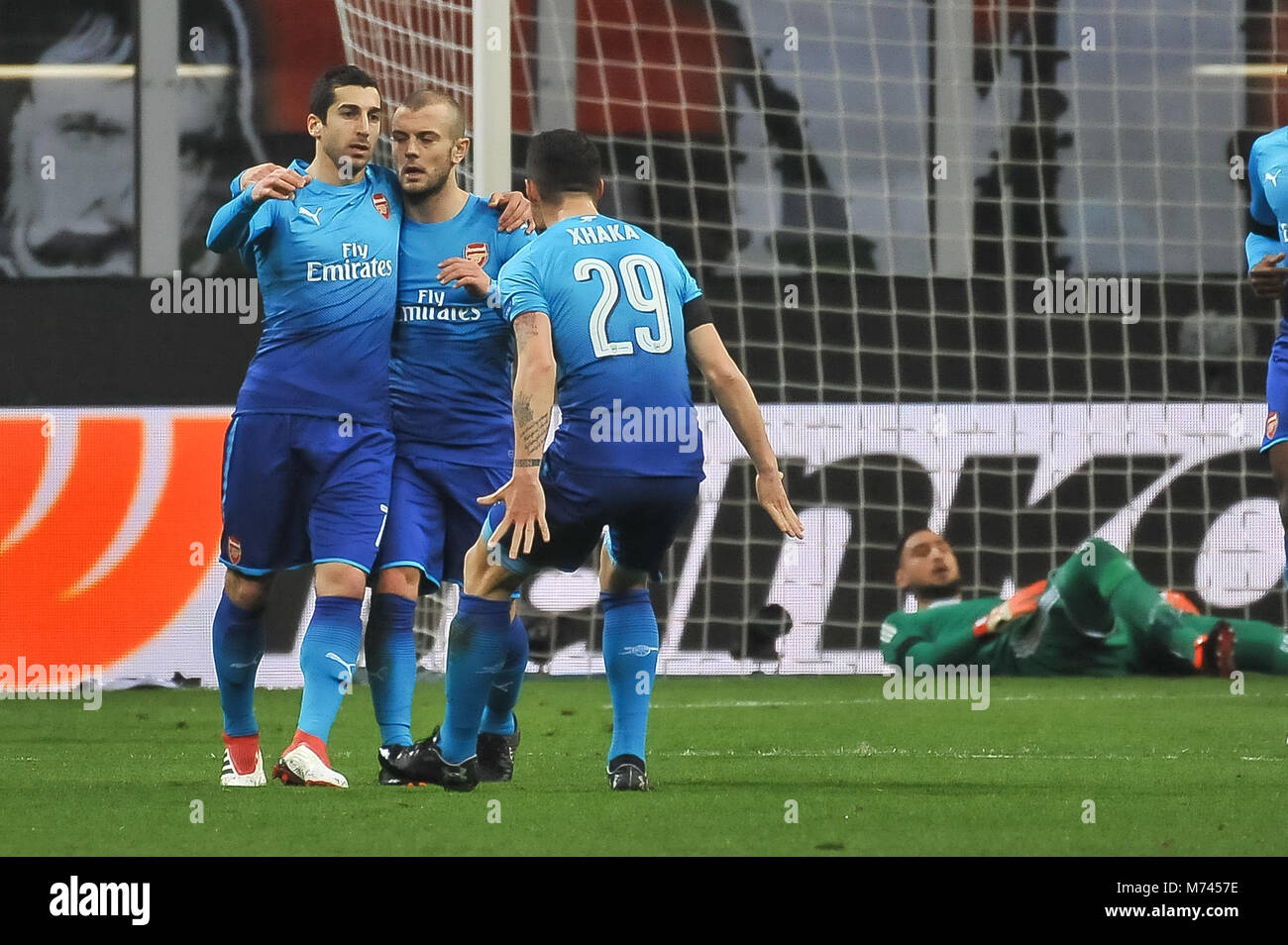 Milan, Italy. 8th March, 2018. during the match UEFA Europa League between AC Milan and Arsenal FCat  Meazza Stadium. Stock Photo