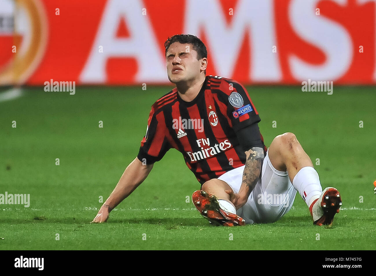 Milan, Italy. 8th March, 2018. Davide Calabria (AC Milan) during the match UEFA Europa League between AC Milan and Stock Photo