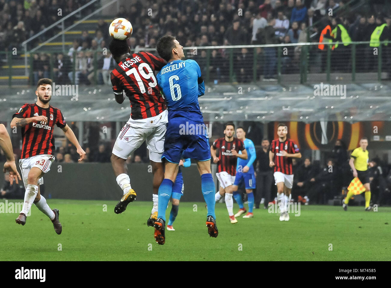 Milan, Italy. 8th March, 2018. Franck Kessie (AC Milan)during the match UEFA Europa League between AC Milan and Stock Photo