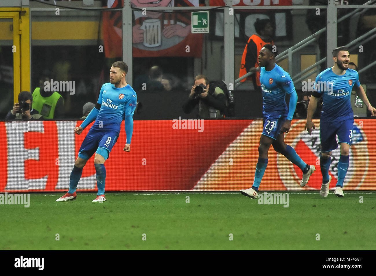 Milan, Italy. 8th March, 2018. Aaron Ramsey (Arsenal FC) during the match UEFA Europa League between AC Milan and Stock Photo