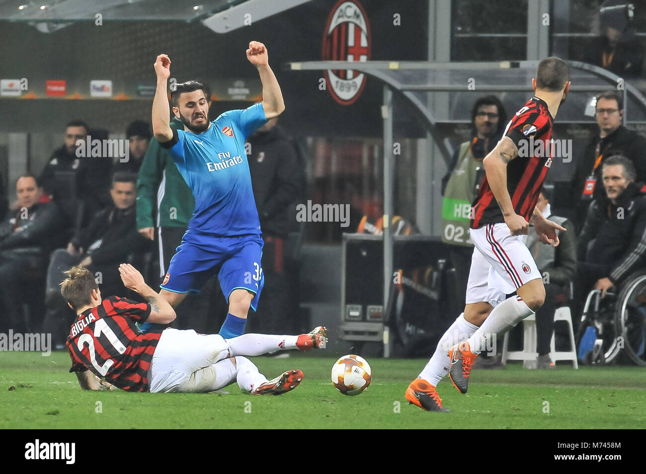 Milan, Italy. 8th March, 2018. Sead Kolasinac (Arsenal FC) during the match UEFA Europa League between AC Milan Stock Photo