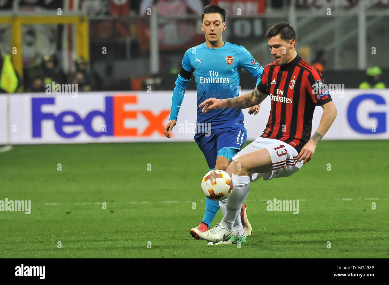 Milan, Italy. 8th March, 2018. Alessio Romagnoli (AC Milan) during the match UEFA Europa League between AC Milan Stock Photo