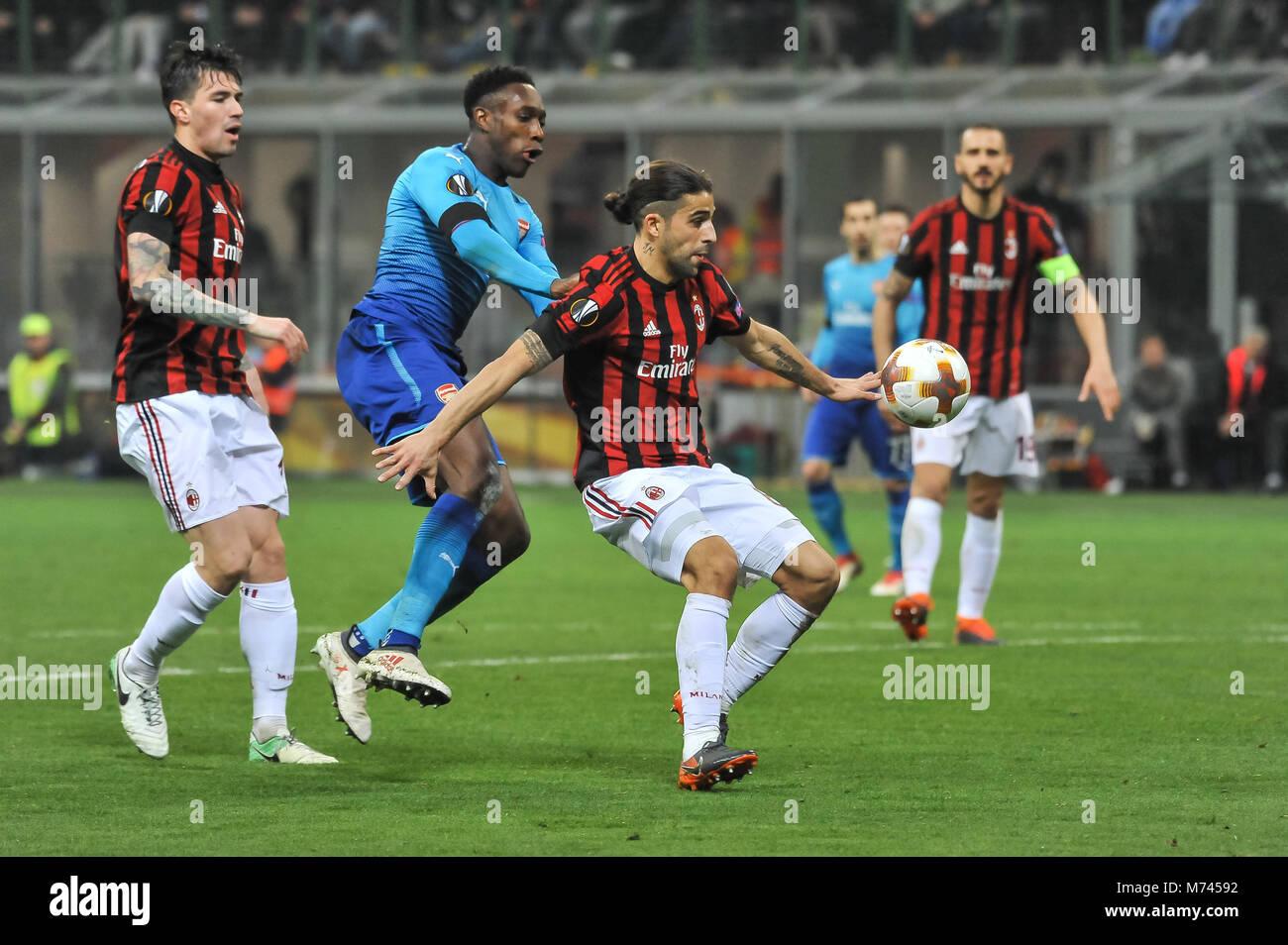 Milan, Italy. 8th March, 2018. Ricardo Rodríguez (AC Milan) during the match UEFA Europa League between AC Milan Stock Photo