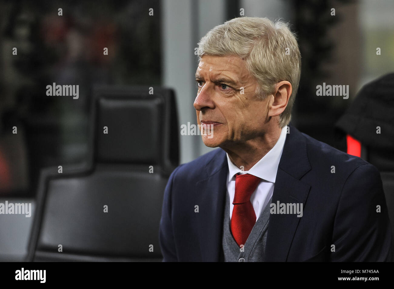 Milan, Italy. 8th March, 2018. Arsene Wenger, head coach of Arsenal FC, during the match UEFA Europa League between Stock Photo