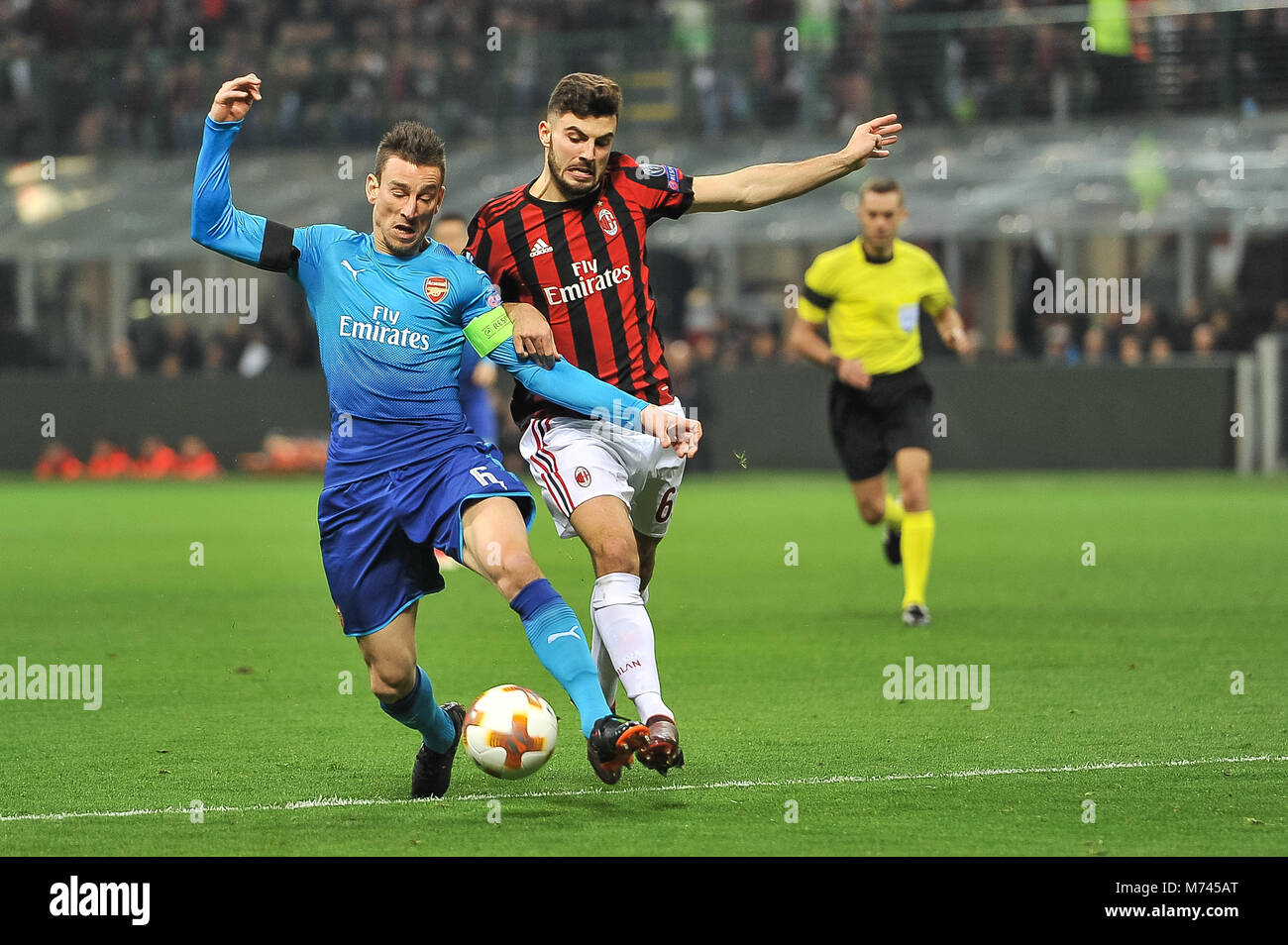 Milan, Italy. 8th March, 2018. Laurent Koscielny (Arsenal FC) during the match UEFA Europa League between AC Milan Stock Photo
