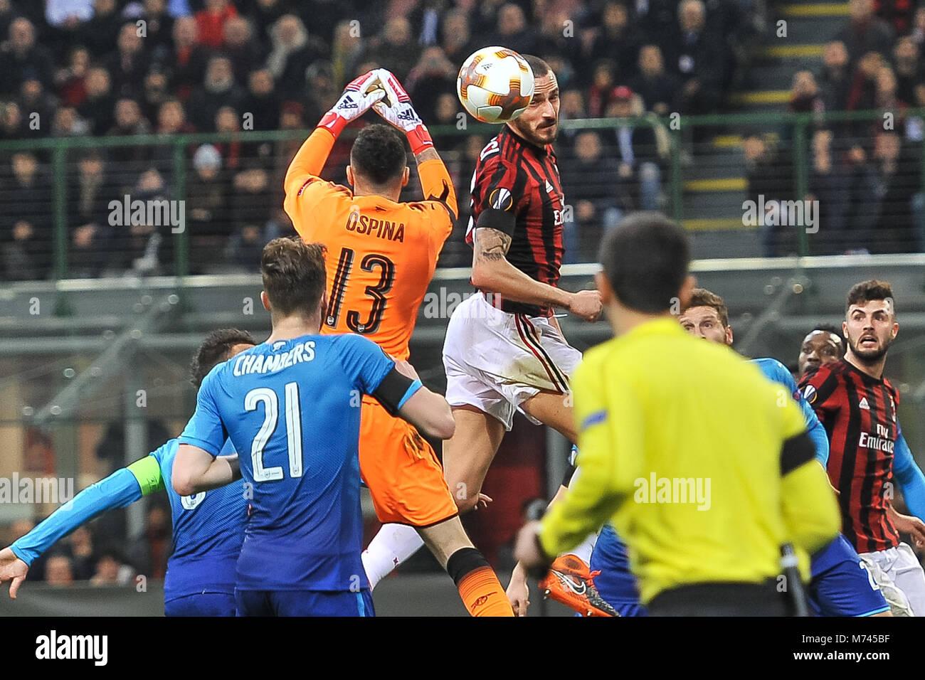 Milan, Italy. 8th March, 2018. Leonardo Bonucci (AC Milan) during the match UEFA Europa League between AC Milan Stock Photo