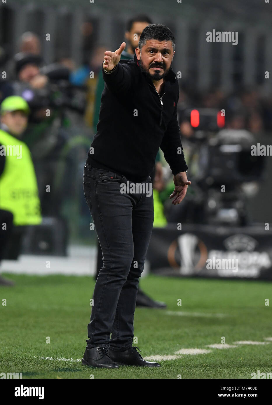 Milan, Italy. 8th Mar, 2018. AC Milan's coach Gennaro Gattuso gestures during a Europa League round of 16 first Stock Photo