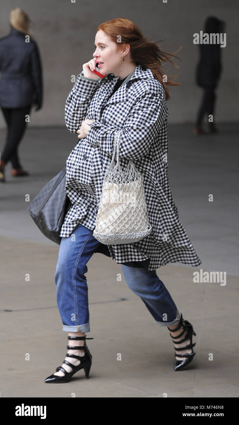 Heavily Pregnant Angela Scanlon seen at BBC Broadcasting House ahead of presenting tonights The One Show enjoying - Stock Image