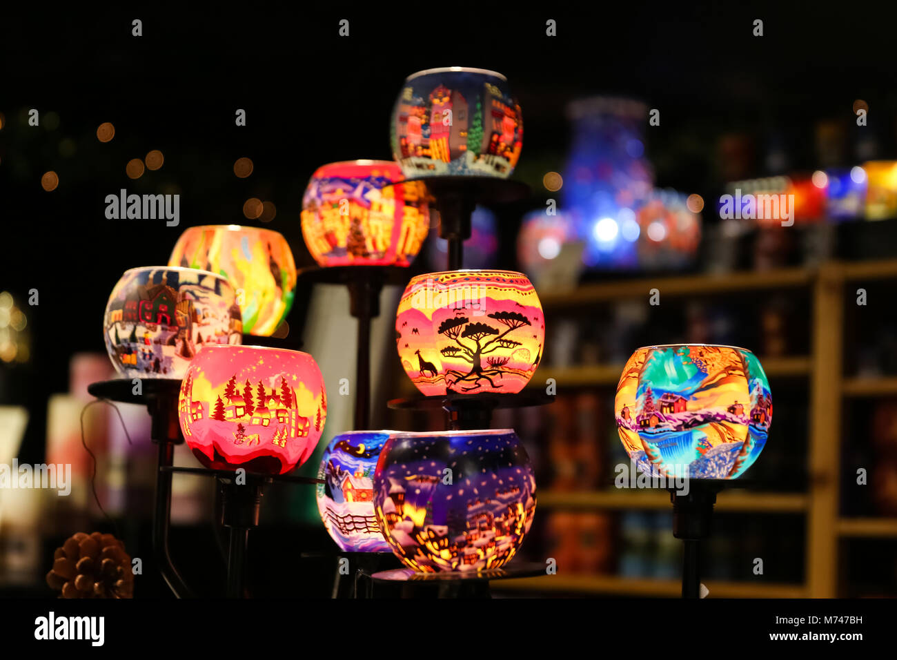 Candle Holders Souvenirs in Alexanderplatz Christmas Market, Berlin, Germany - Stock Image