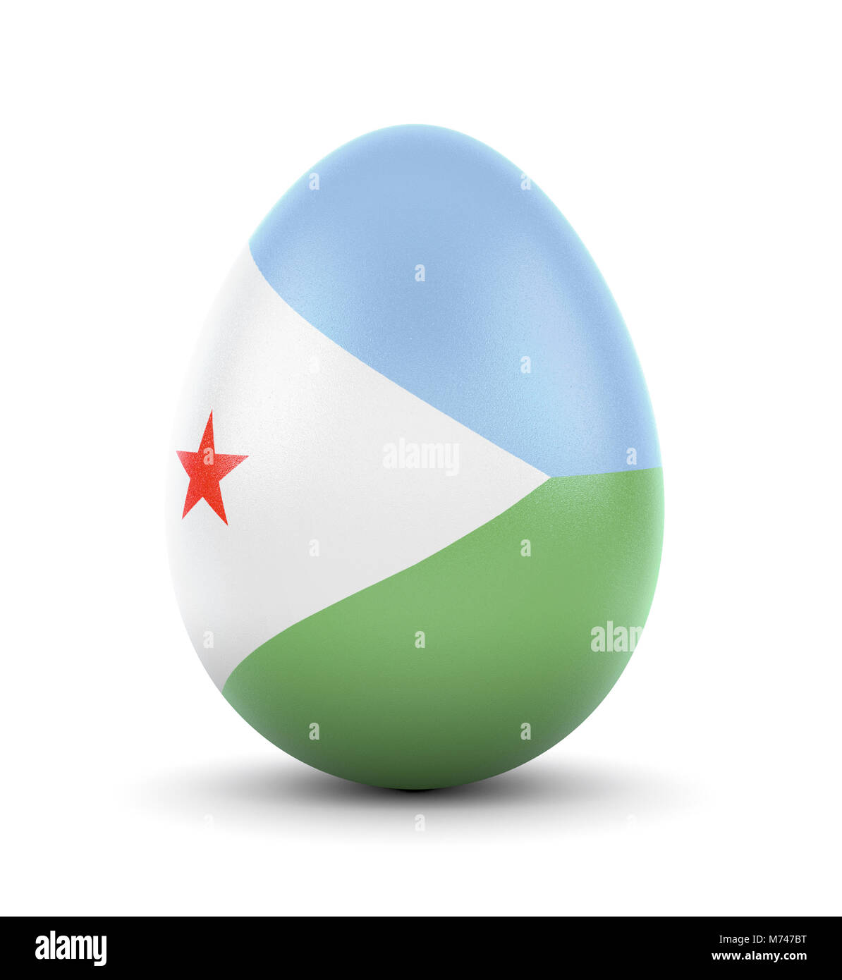 High quality realistic rendering of an glossy egg with the flag of Djibouti.(series) Stock Photo