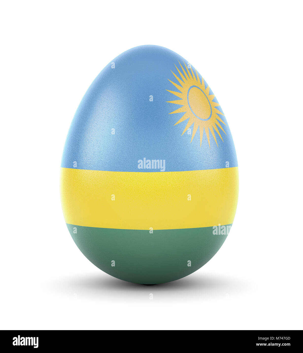 High quality realistic rendering of an glossy egg with the flag of Rwanda.(series) - Stock Image