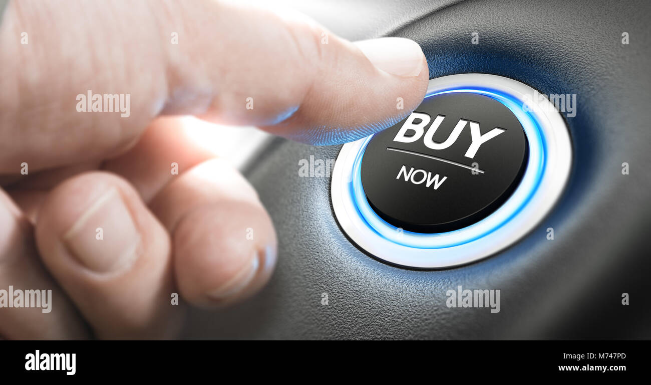 Man pushing a car start button with the text buy now. Call for action concept. Composite image between a finger - Stock Image
