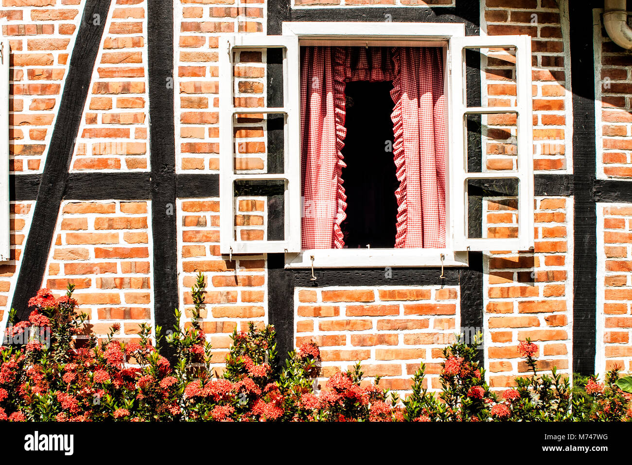 Detail of a timber framed house brought from Germany to be rebuit in Brazil. Blumenau, Santa Catarina, Brazil. - Stock Image