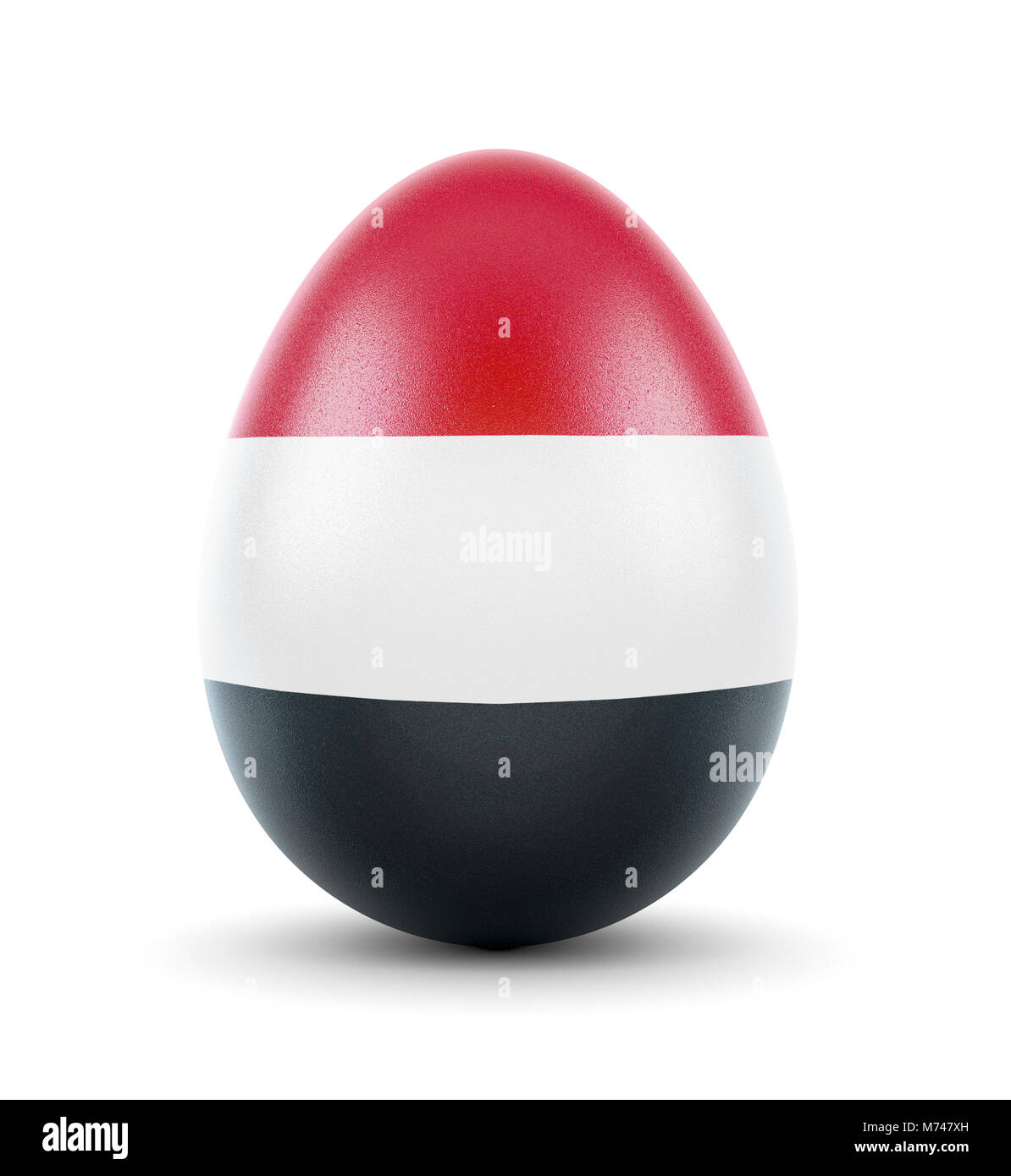 High quality realistic rendering of an glossy egg with the flag of Yemen.(series) - Stock Image