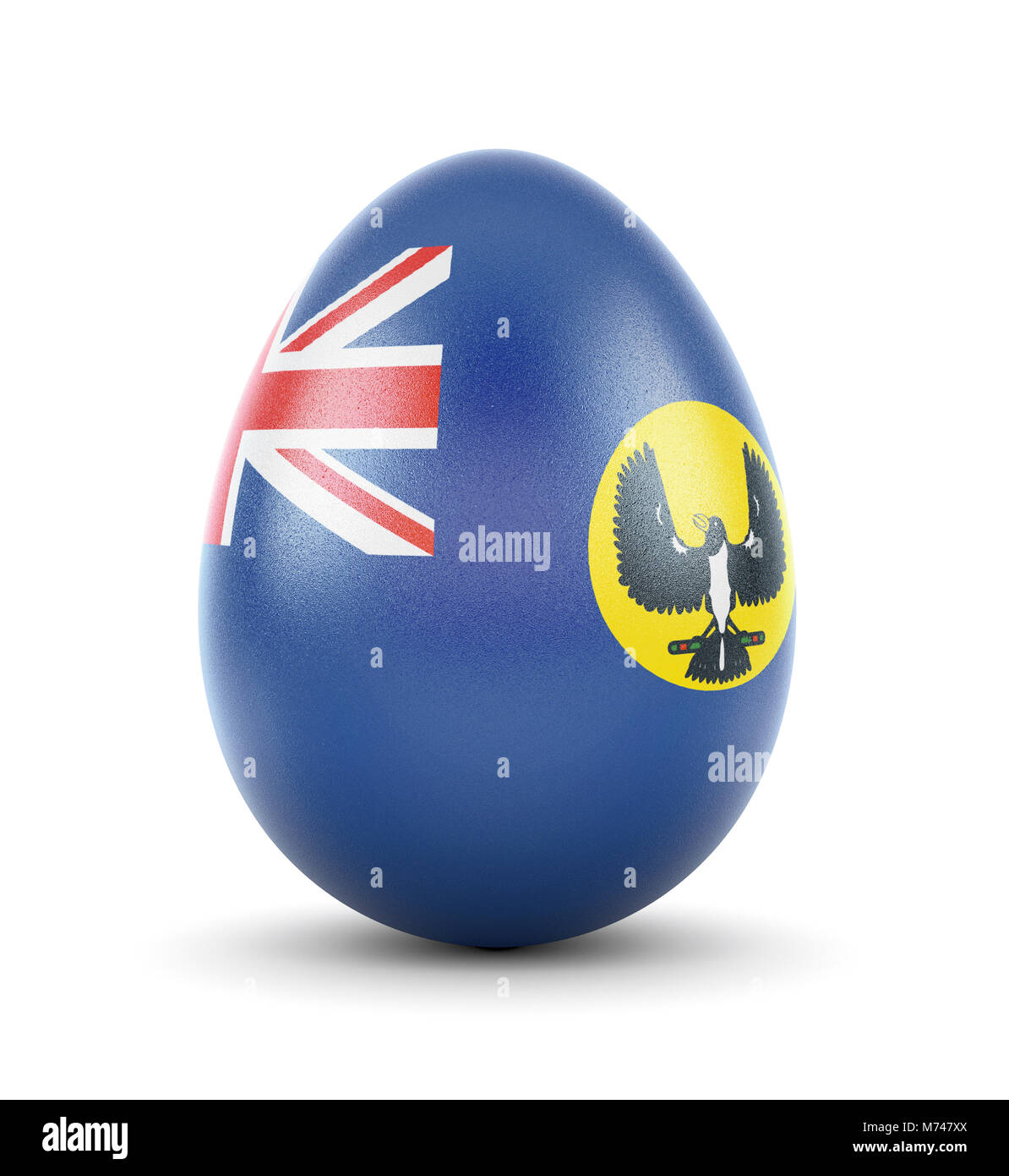 High quality realistic rendering of an glossy egg with the flag of South Australia.(series) - Stock Image