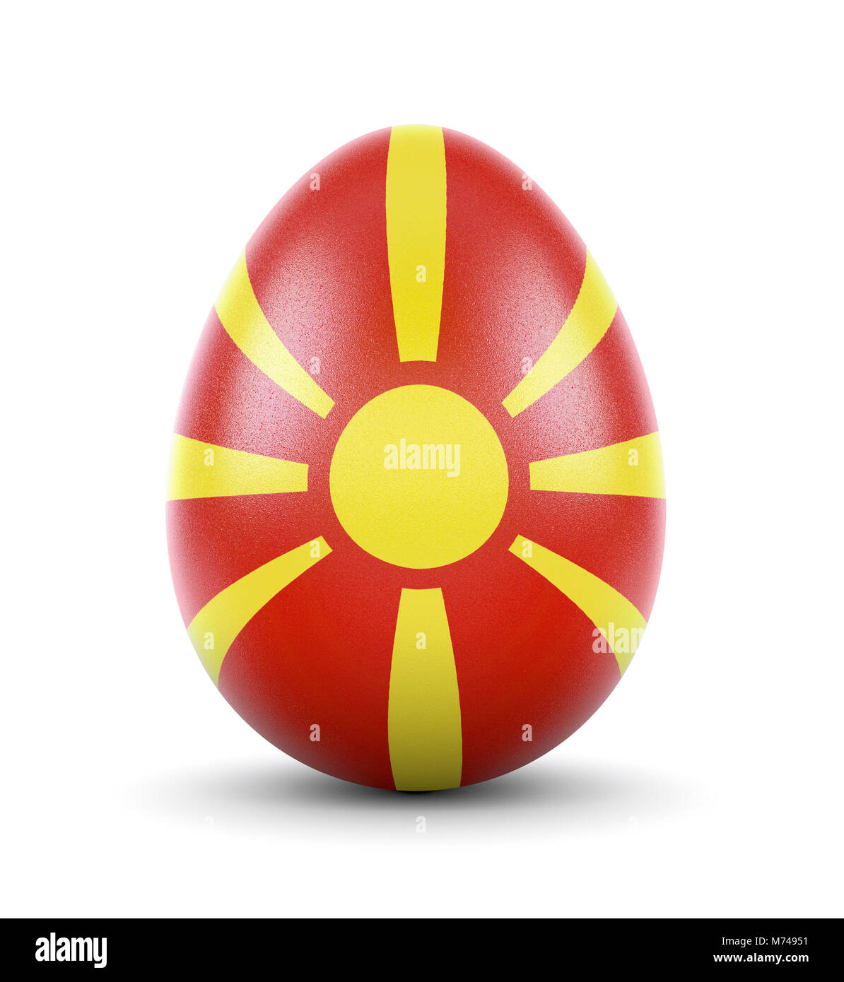 High quality realistic rendering of an glossy egg with the flag of Macedonia.(series) - Stock Image