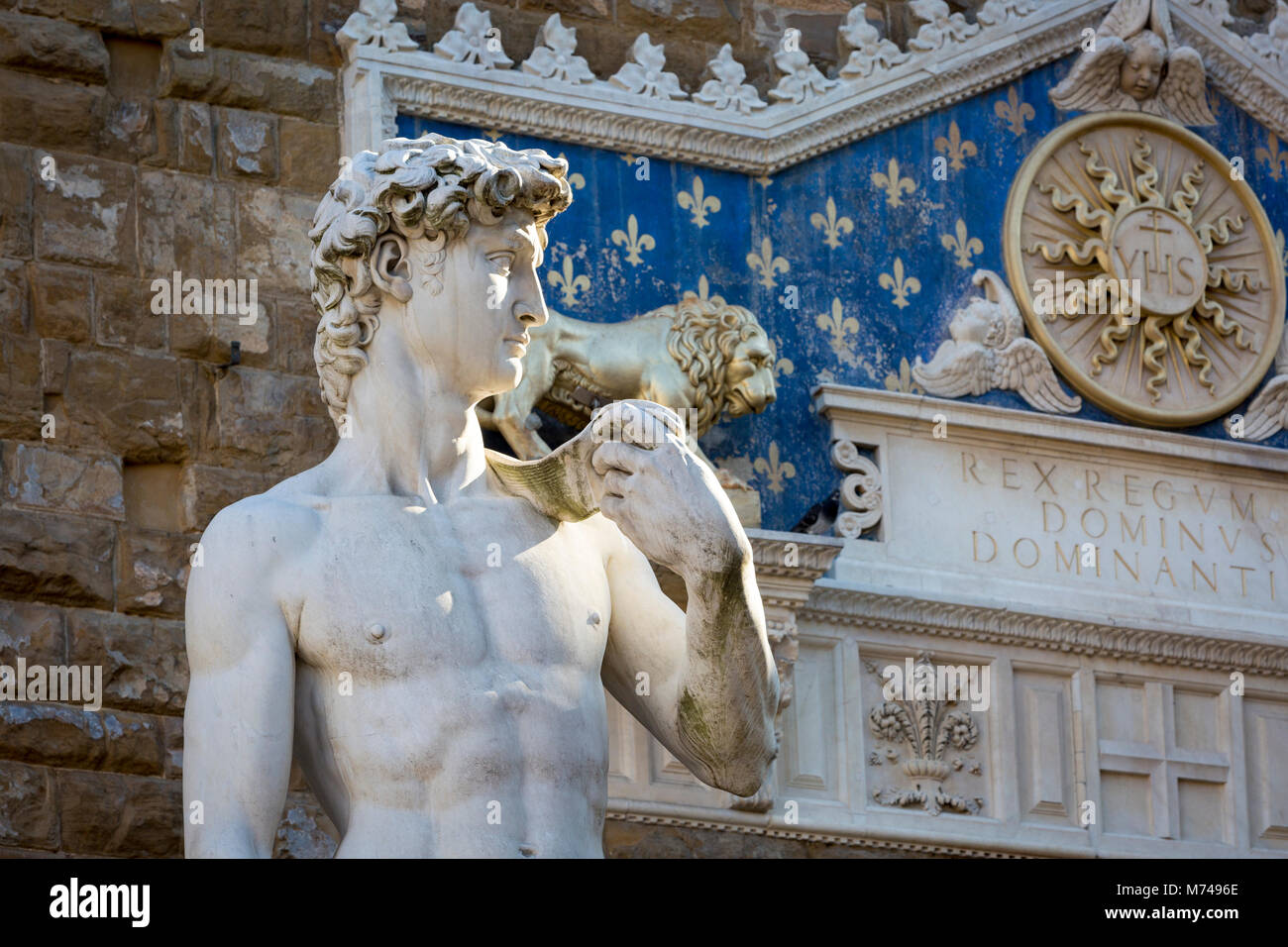 Copy of Michelangelo's David sculpture at Piazza della Signoria, Florence, Tuscany Italy - Stock Image
