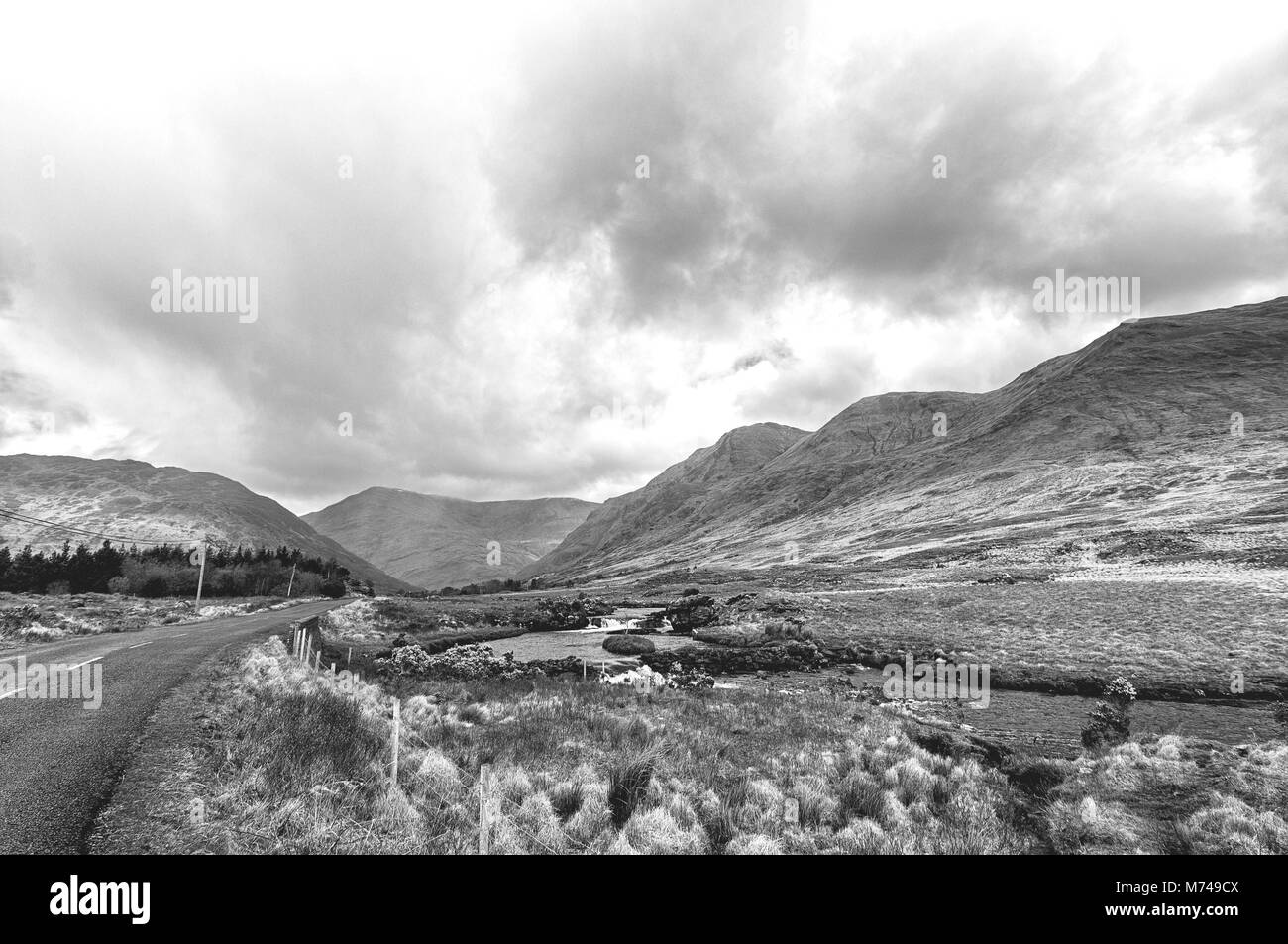 Black and white picture of a beautiful scenic Irish countryside landscape from Achill island in Mayo Ireland Stock Photo