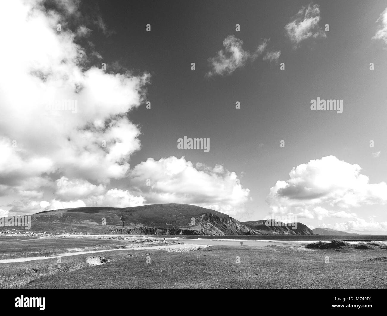 Black and white picture of a beautiful scenic Irish countryside landscape from Achill island in Mayo Ireland - Stock Image