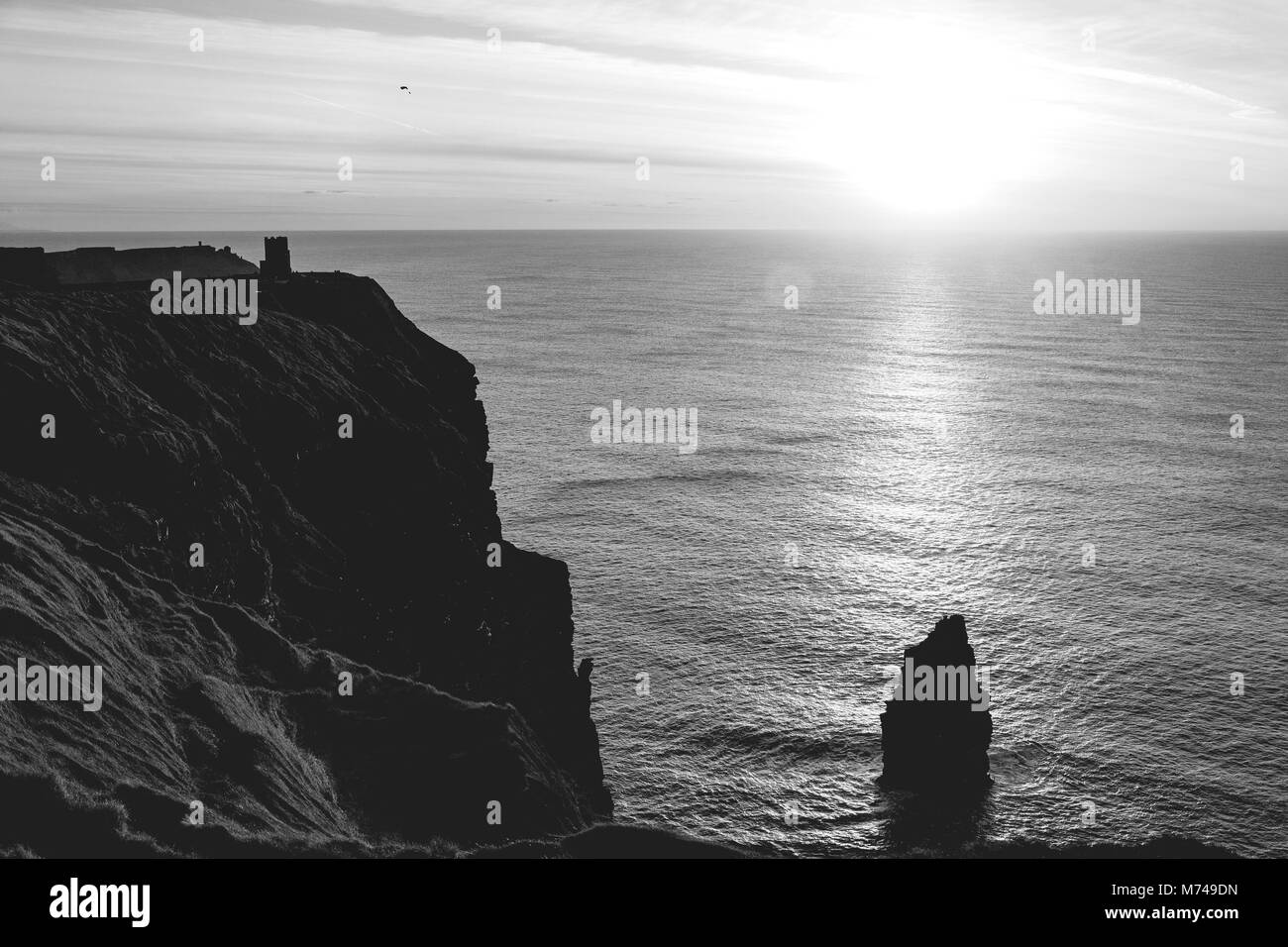 Black and white picture of the world famous cliffs of moher in county ireland. beautiful scenic irish countryside - Stock Image