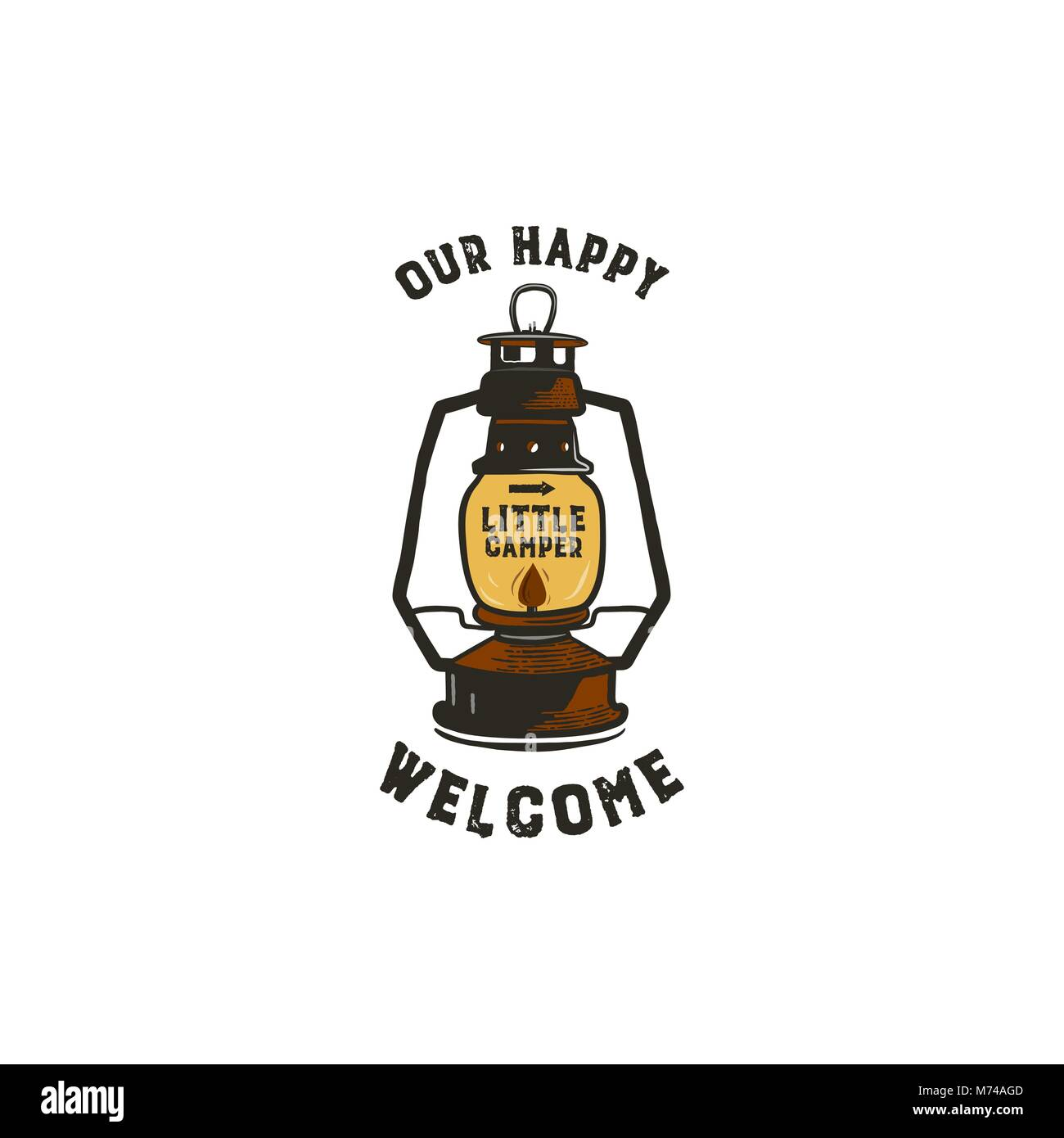 Vintage hand-drawn lantern logo concept. Perfect for logo design, badge, camping labels. Retro colors. Symbol for - Stock Vector