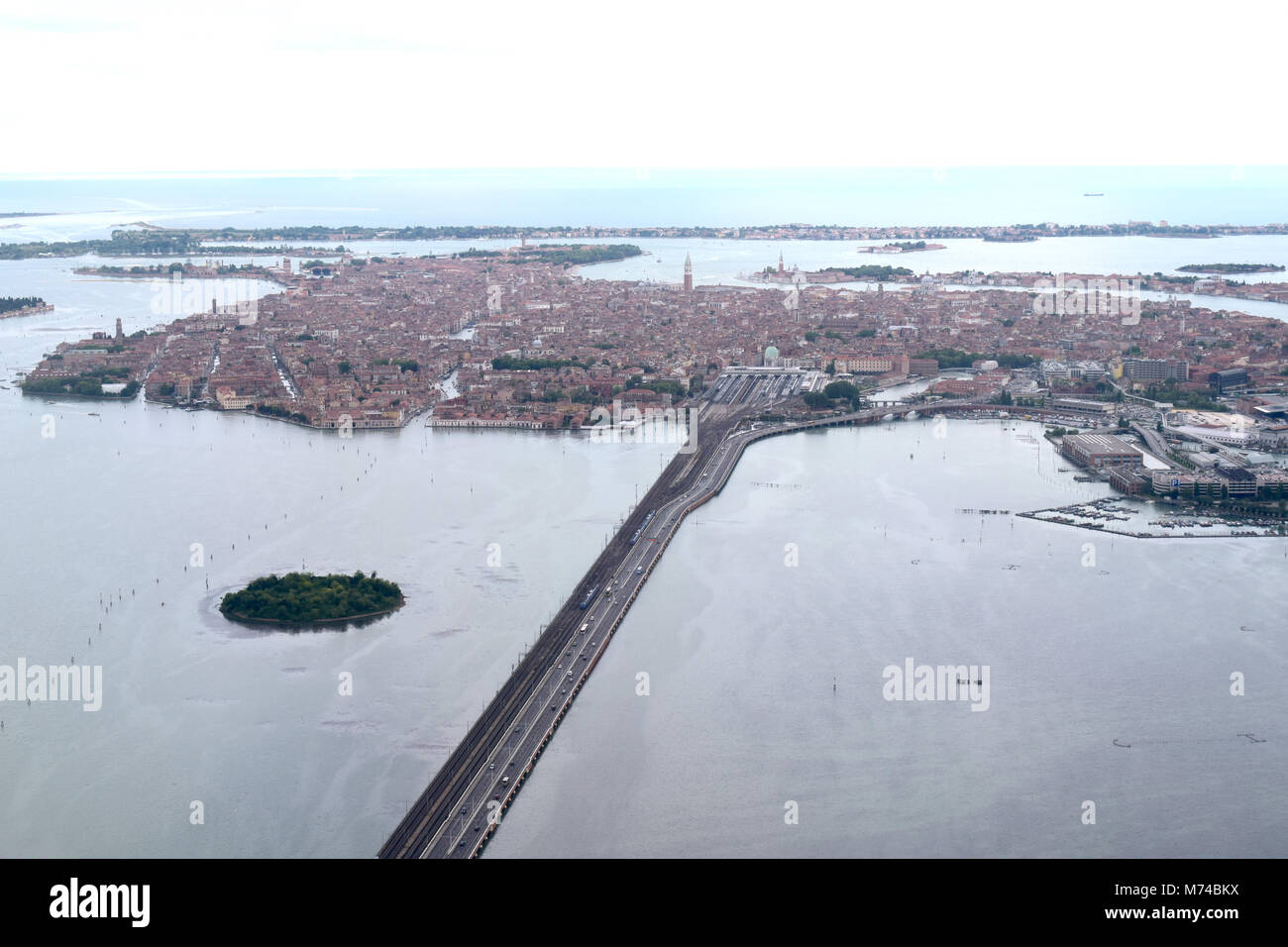 Venice is built on more than 100 islands in the Venetian Lagoon.It's connected to the mainland by the Venice - Stock Image