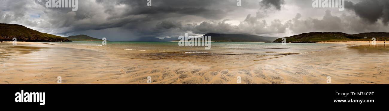 Panoramic view of the beach at Horgabost, Hebrides, Scotland with storm - Stock Image