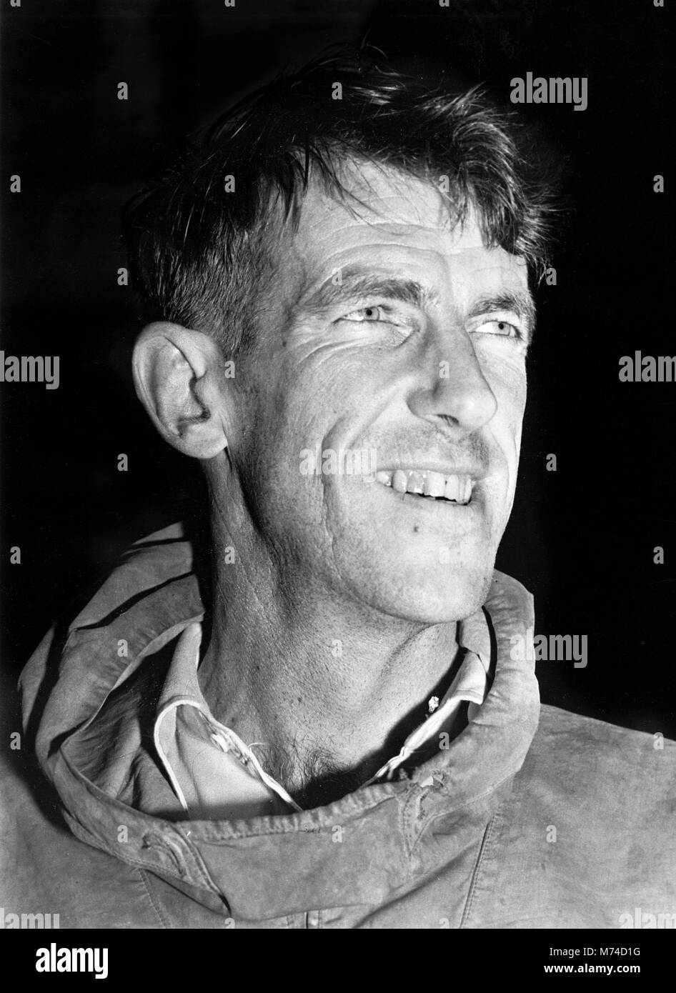 Sir Edmund Hillary (1919-2008), portrait of the New Zealand mountaineer, c.1953. - Stock Image