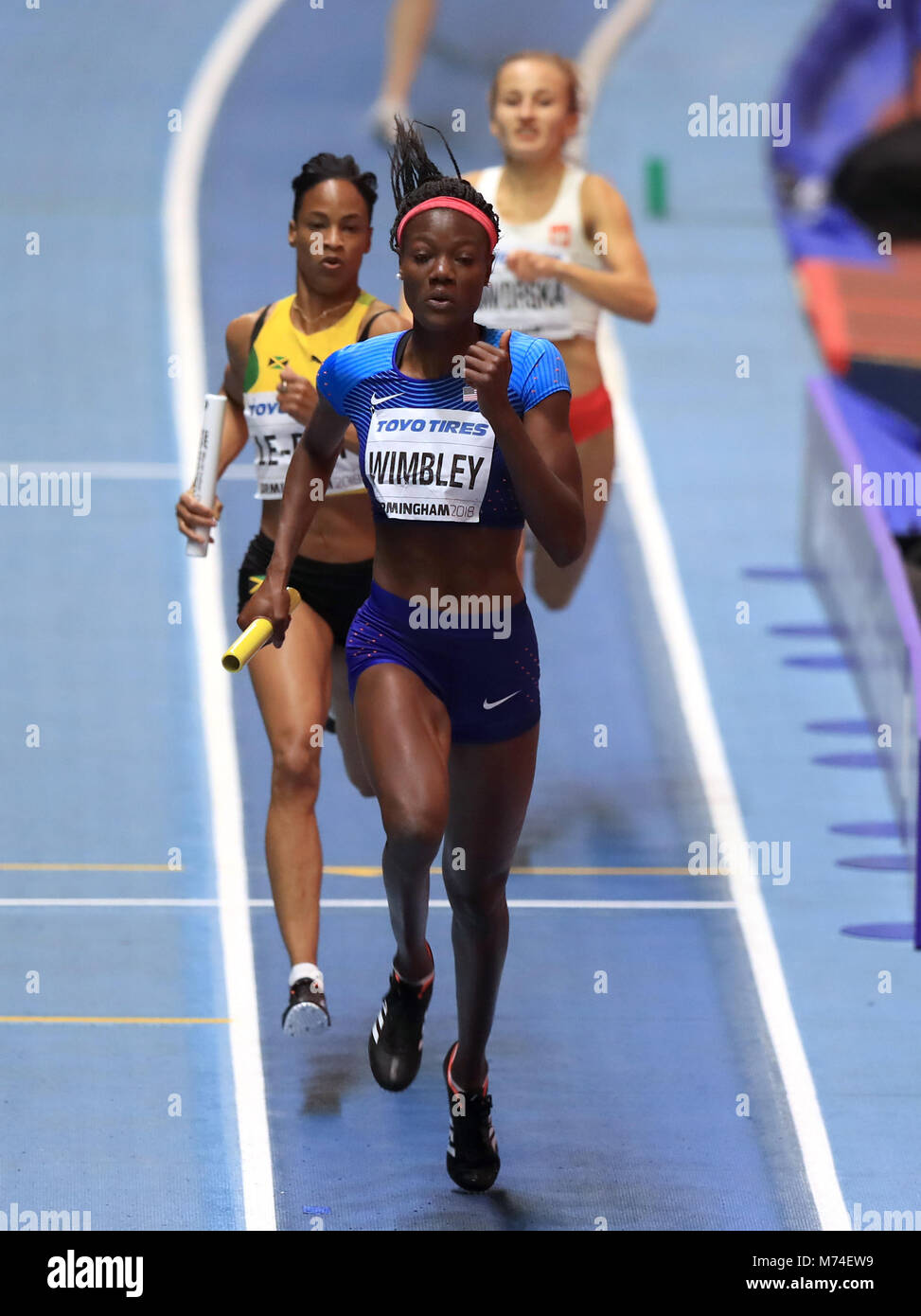 USA's Shakima Wimbley in action during the Women's 4x400m final during day four of the 2018 IAAF Indoor - Stock Image