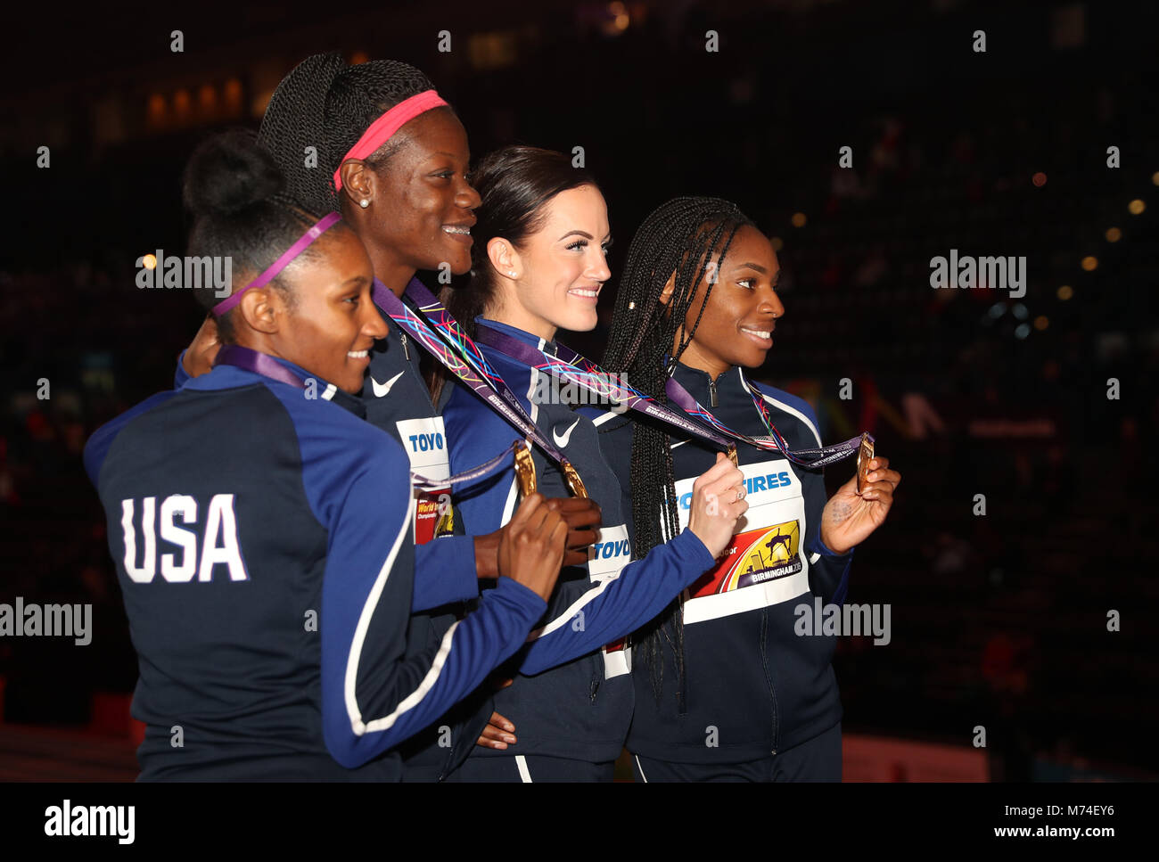 USA's (left-right) Quanera Hayes, Shakima Wimbley, Georganne Moline and Courtney Okolo pose with their gold - Stock Image