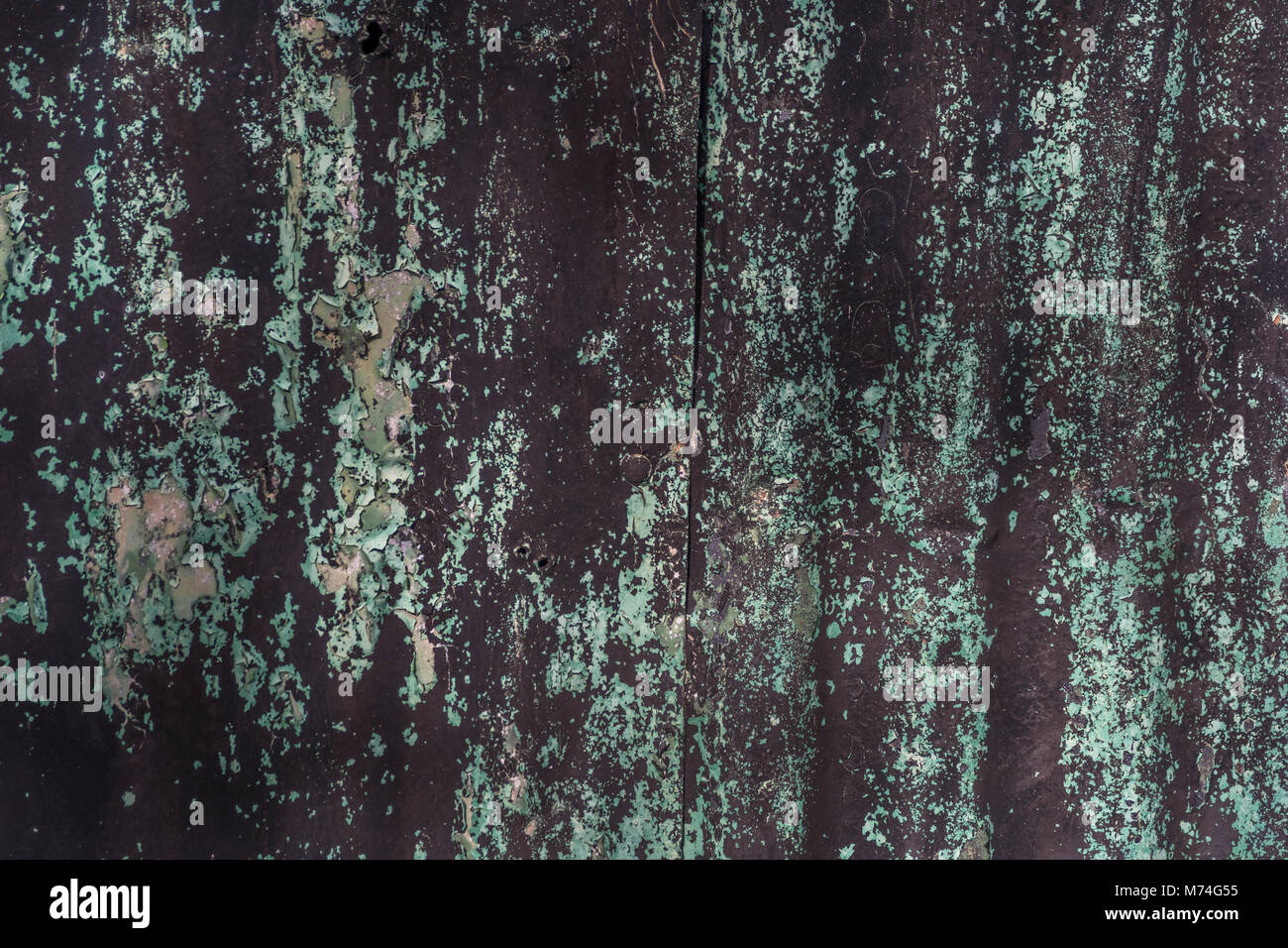 Peeling green and black paint texture on tin sheet - possible abstract photographic backdrop, photography background. - Stock Image