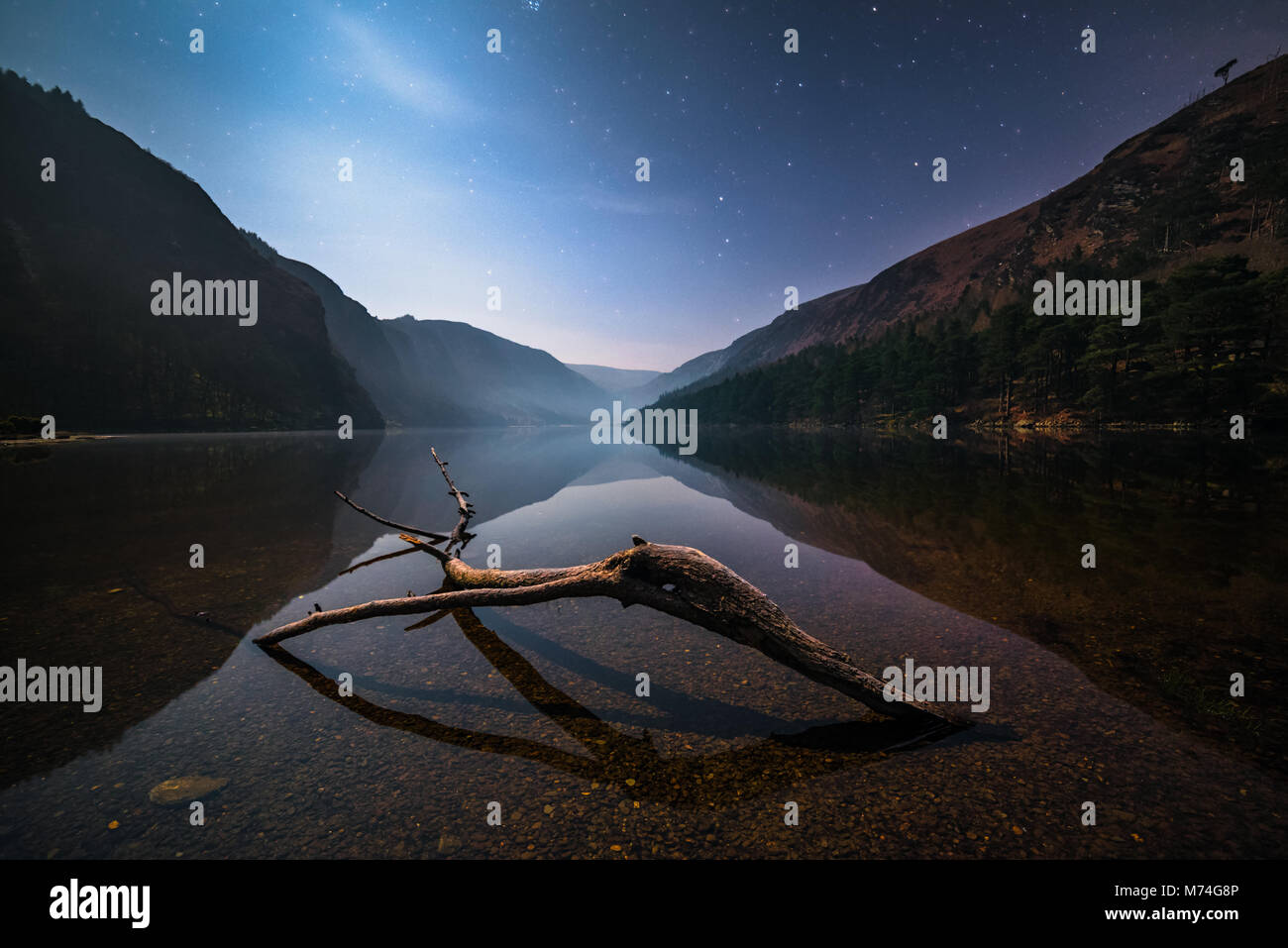 Glendalough at night in Wicklow Mountains - Ireland - Stock Image