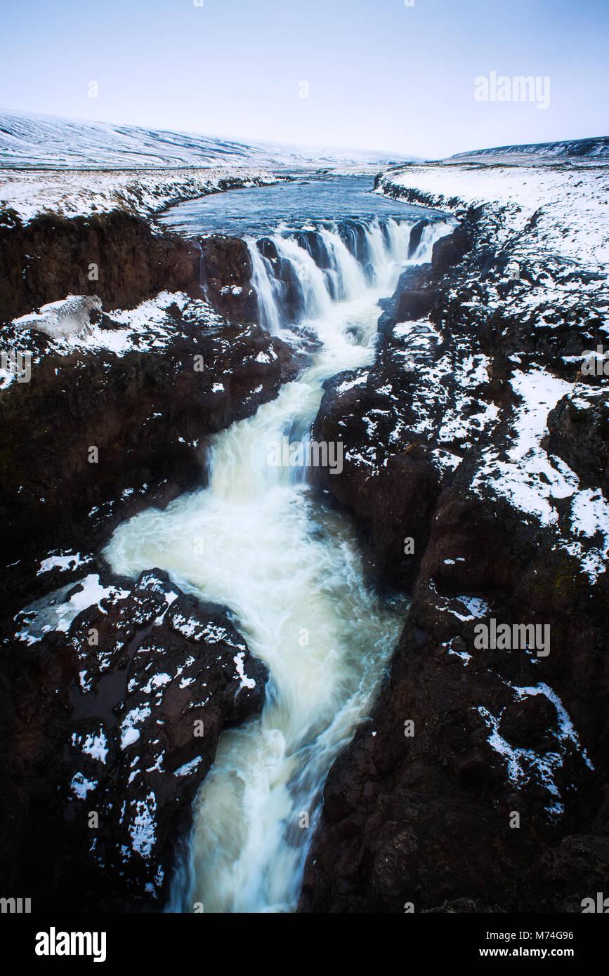 Icelandic waterfall - Stock Image