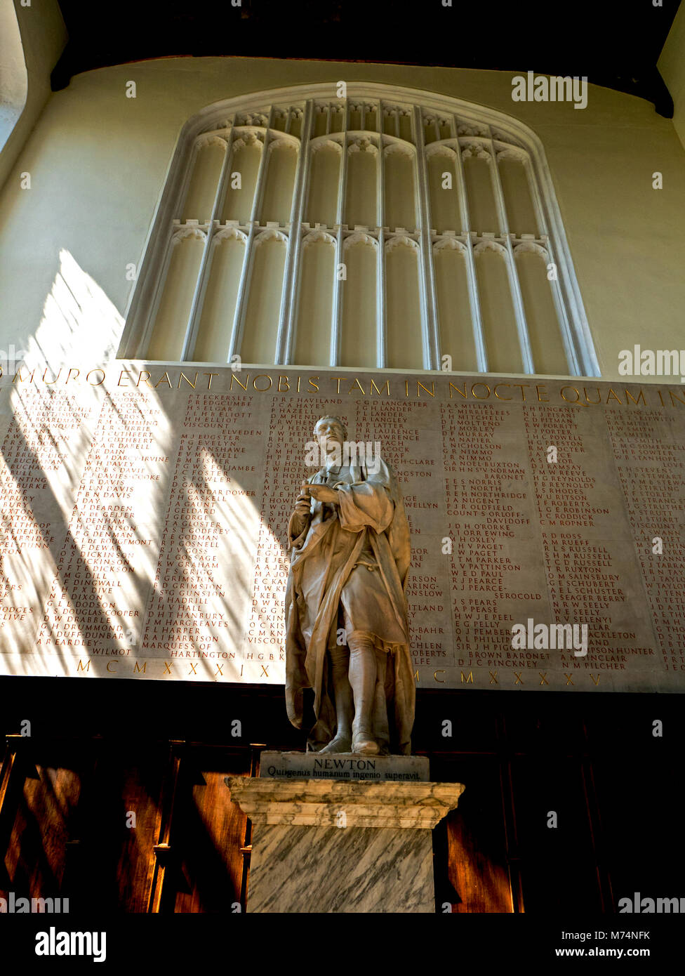 Statue of Sir Isaac Newton in Ante Chapel of Trinity College Cambridge - Stock Image
