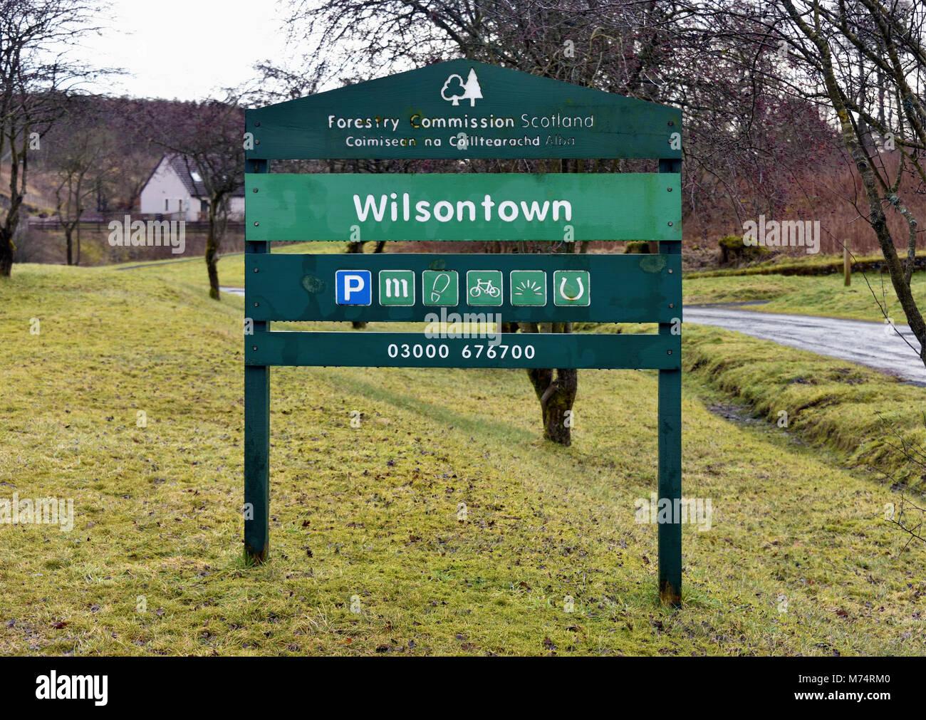Forestry Commission Scotland signboard. Wilsontown, Forth, Lanarkshire, Scotland, United Kingdom, Europe. - Stock Image