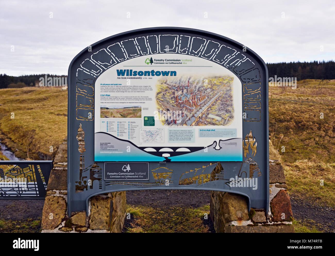 Descriptive signboard. 'Wilsontown An Iron Community 1779 - 1842.' Wilsontown, Forth, Lanarkshire, Scotland, - Stock Image