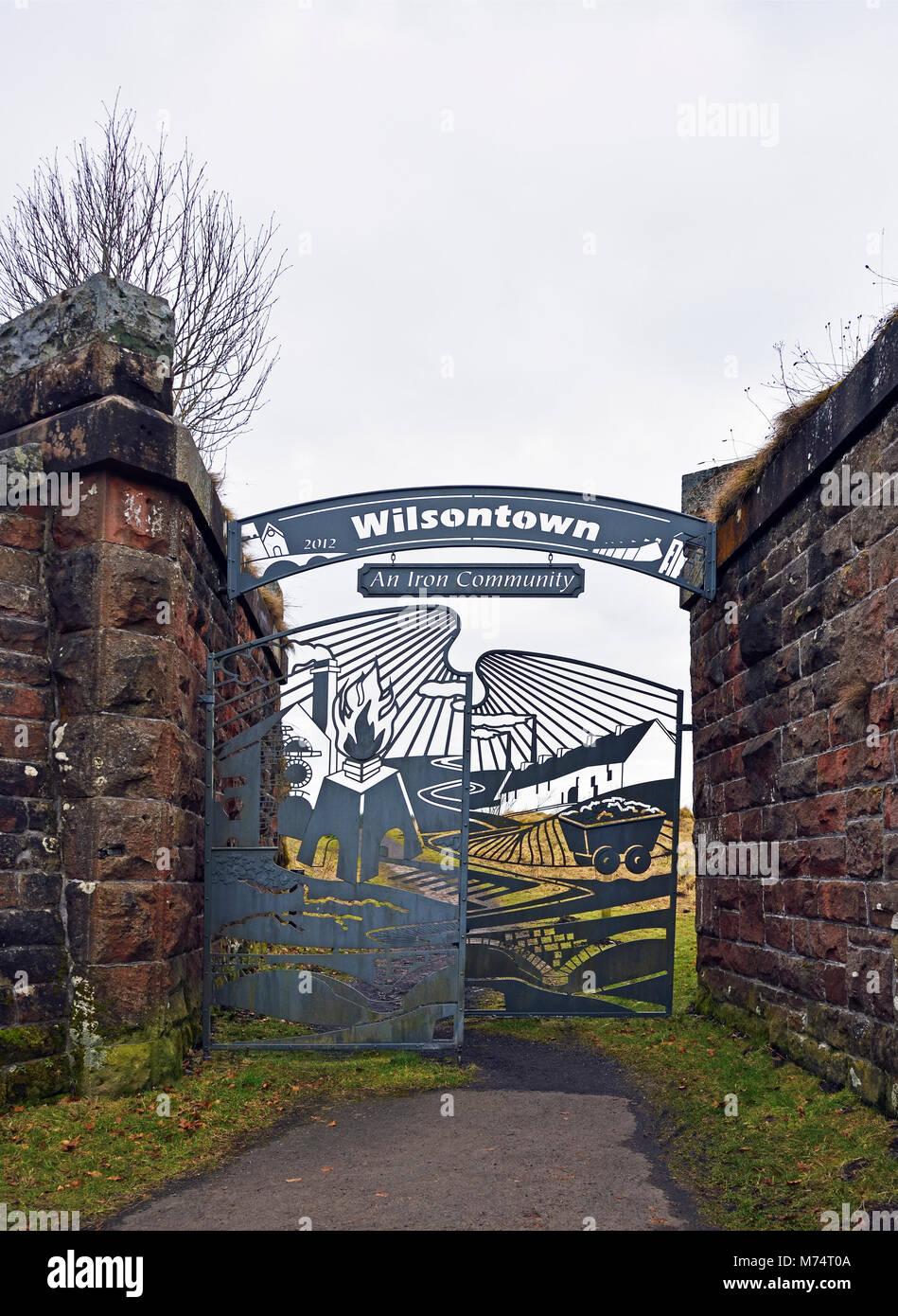 Ornamental metal entrance gates. Wilsontown, Forth, Lanarkshire, Scotland, United Kingdom, Europe. - Stock Image