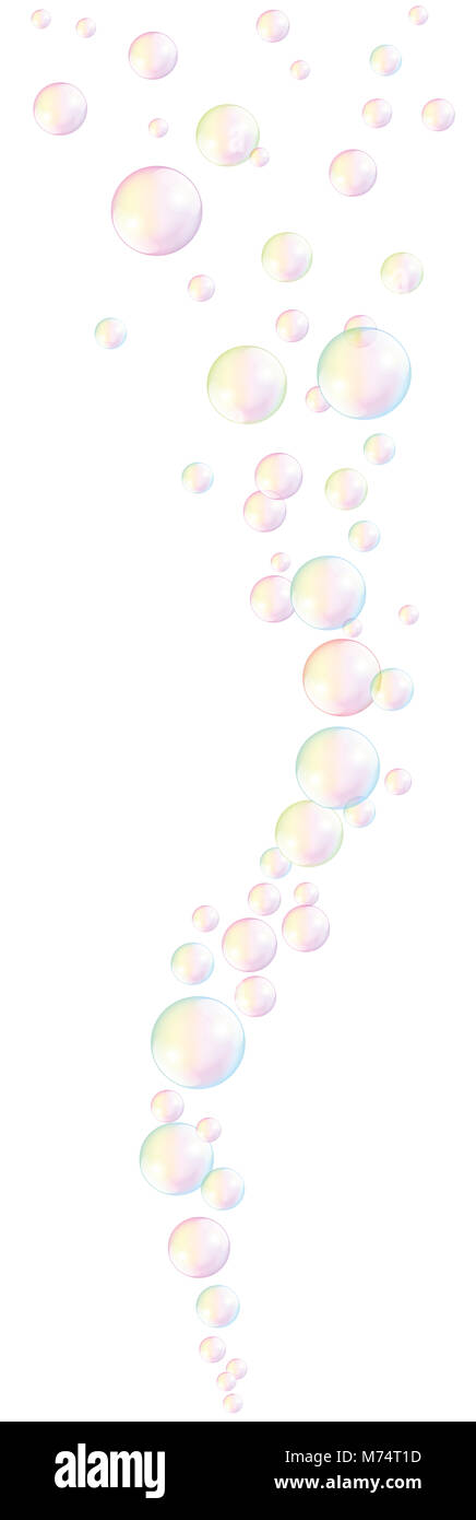 Rising soap bubbles. gentle colored wave pattern. - Stock Image