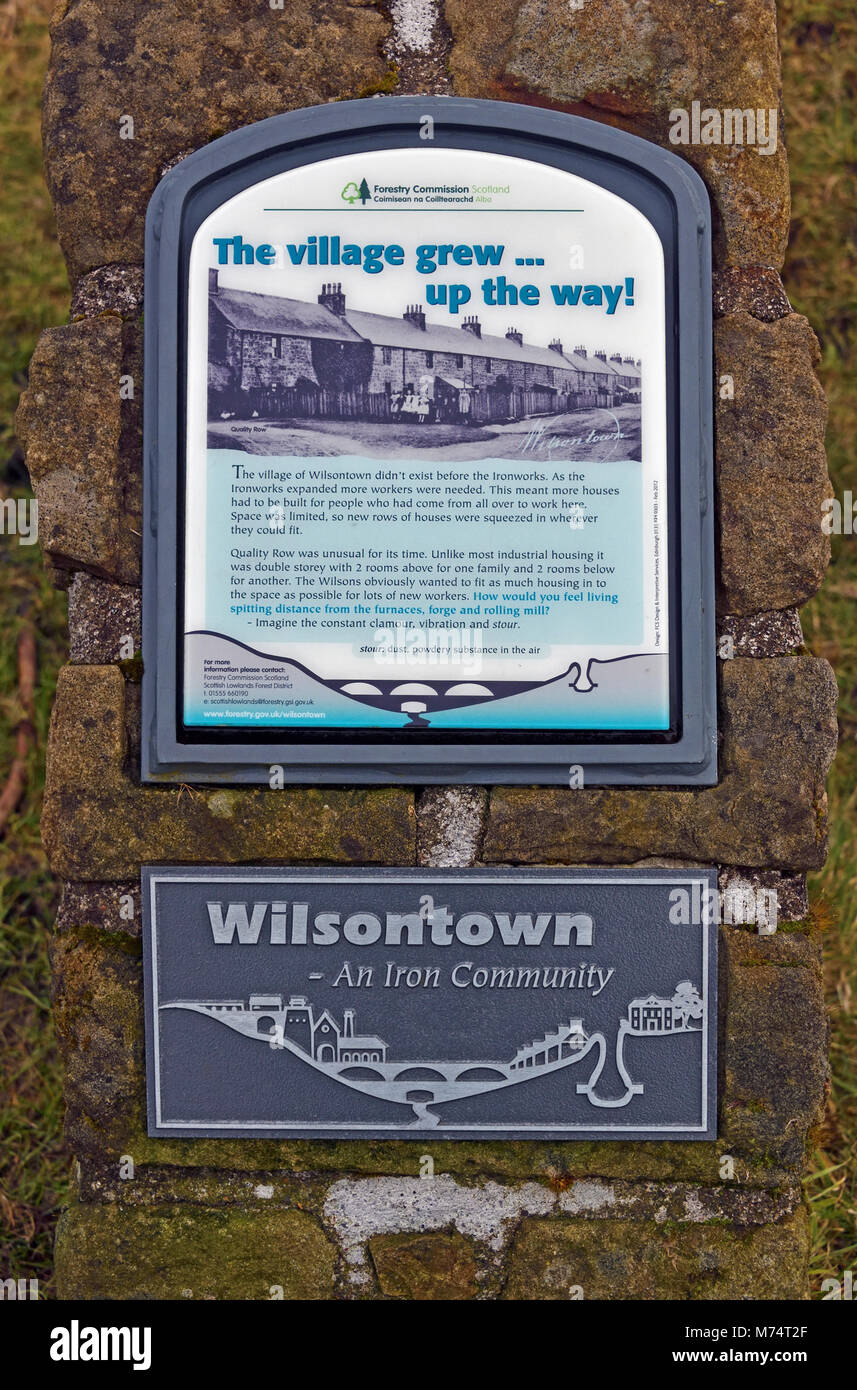 Descriptive signboard. 'The village grew... up the way!' Wilsontown, Forth, Lanarkshire, Scotland, United - Stock Image