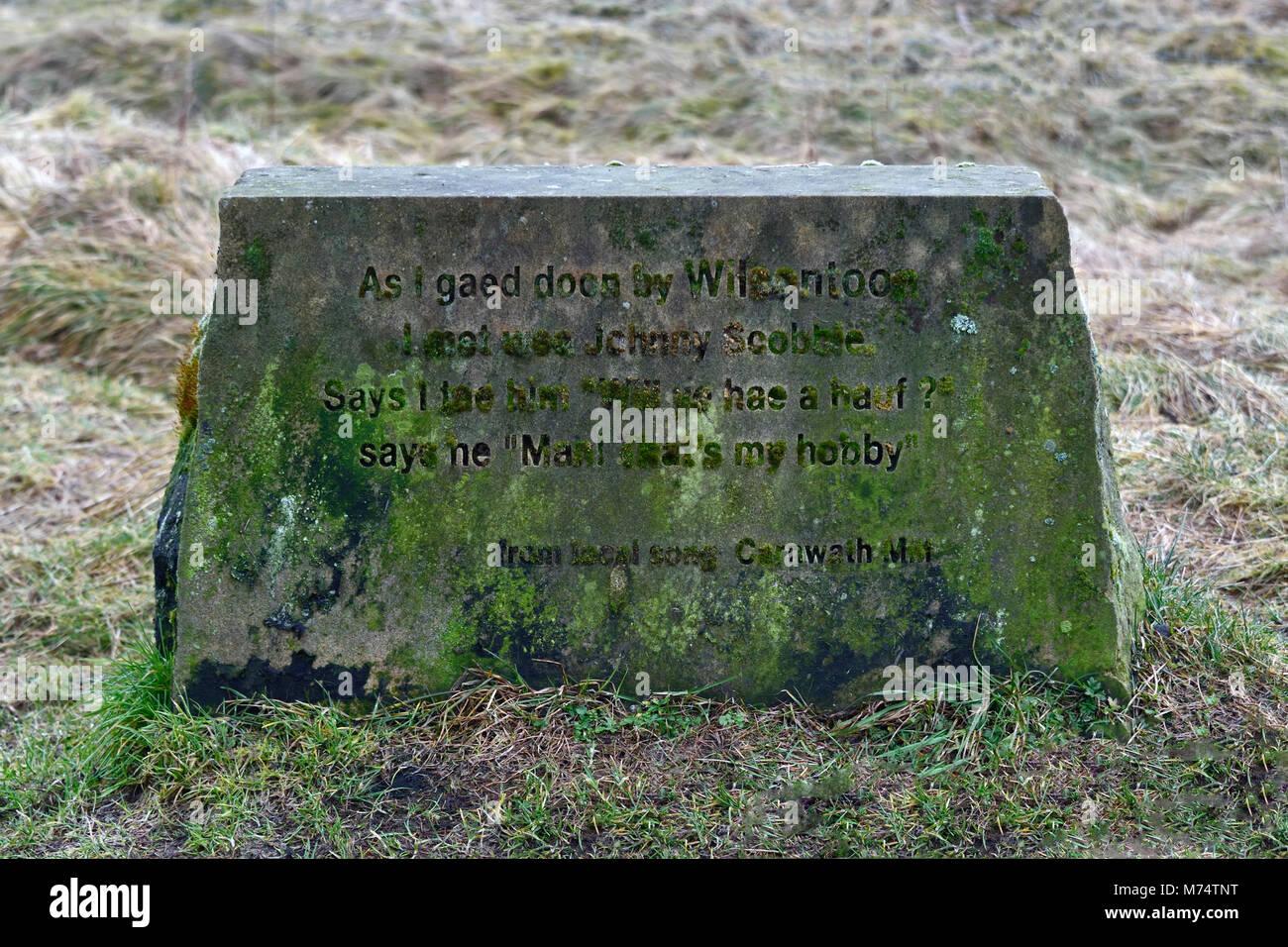 Inscribed stone. Wilsontown, Forth, Lanarkshire, Scotland, United Kingdom, Europe. - Stock Image