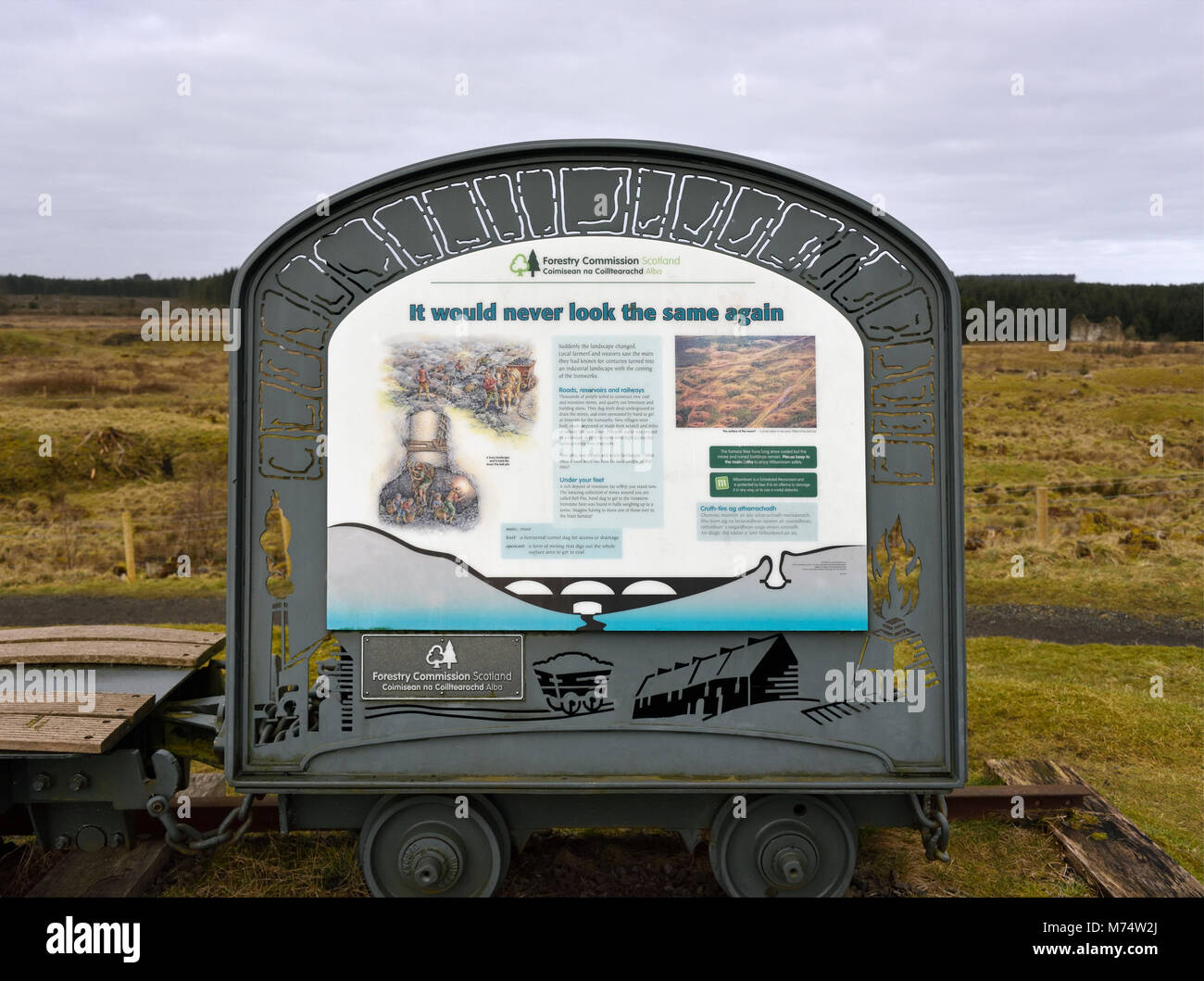 Descriptive signboard. 'It would never look the same again'. Wilsontown, Forth, Lanarkshire, Scotland, United - Stock Image