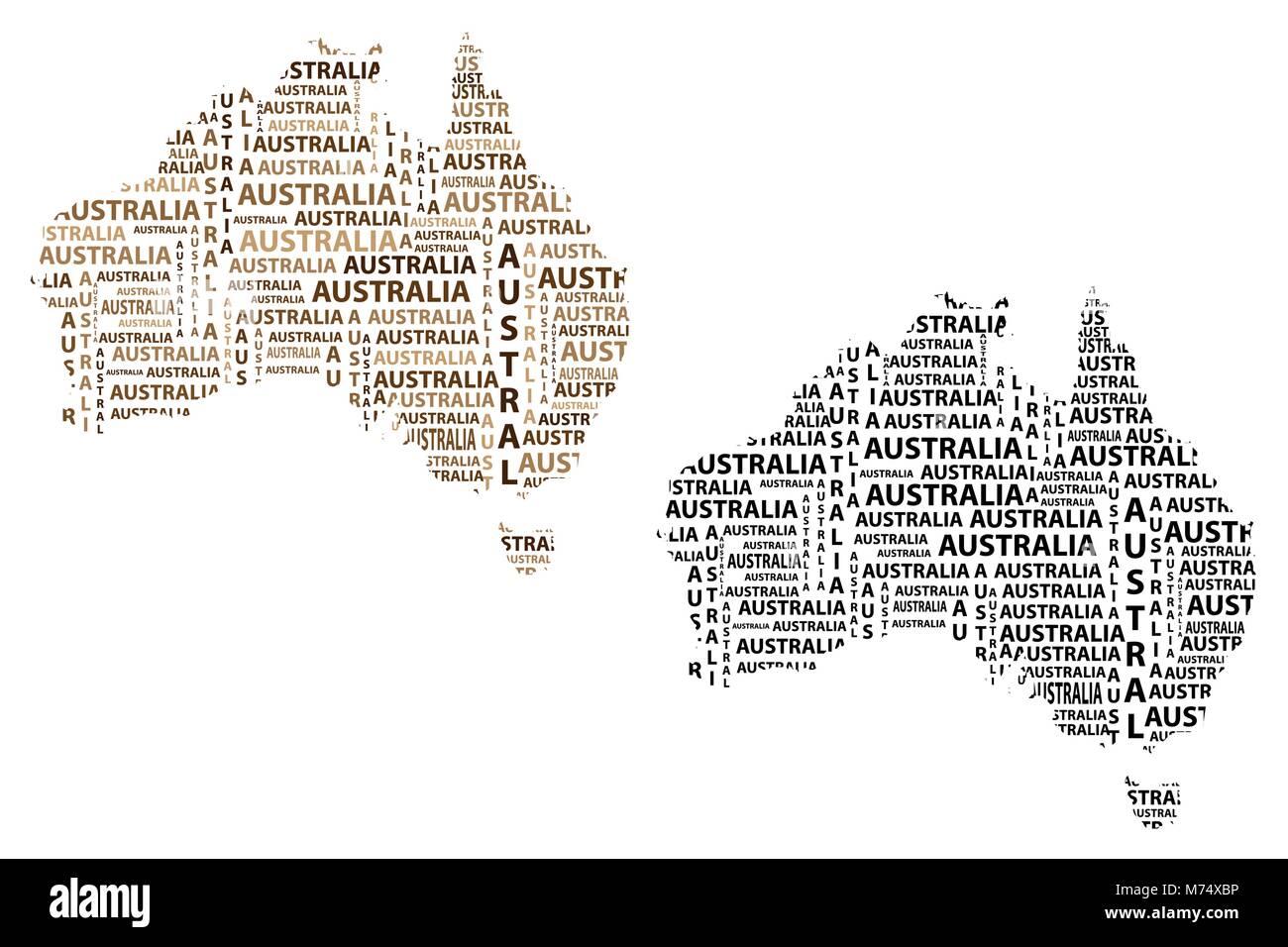 Australia Map Shape.Sketch Australia Letter Text Continent Australia Word In The