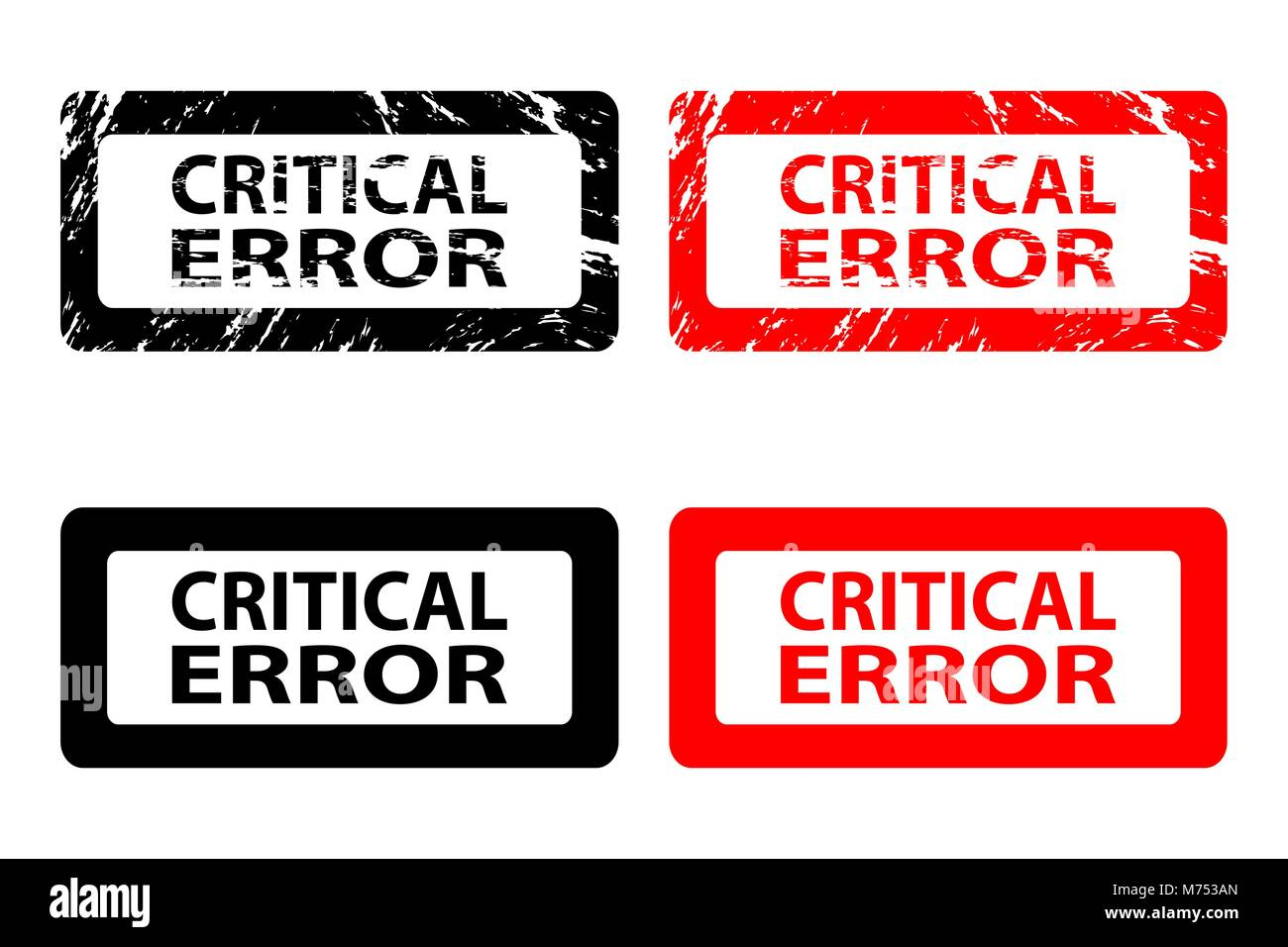 Critical error  - rubber stamp - vector - black and red - Stock Image