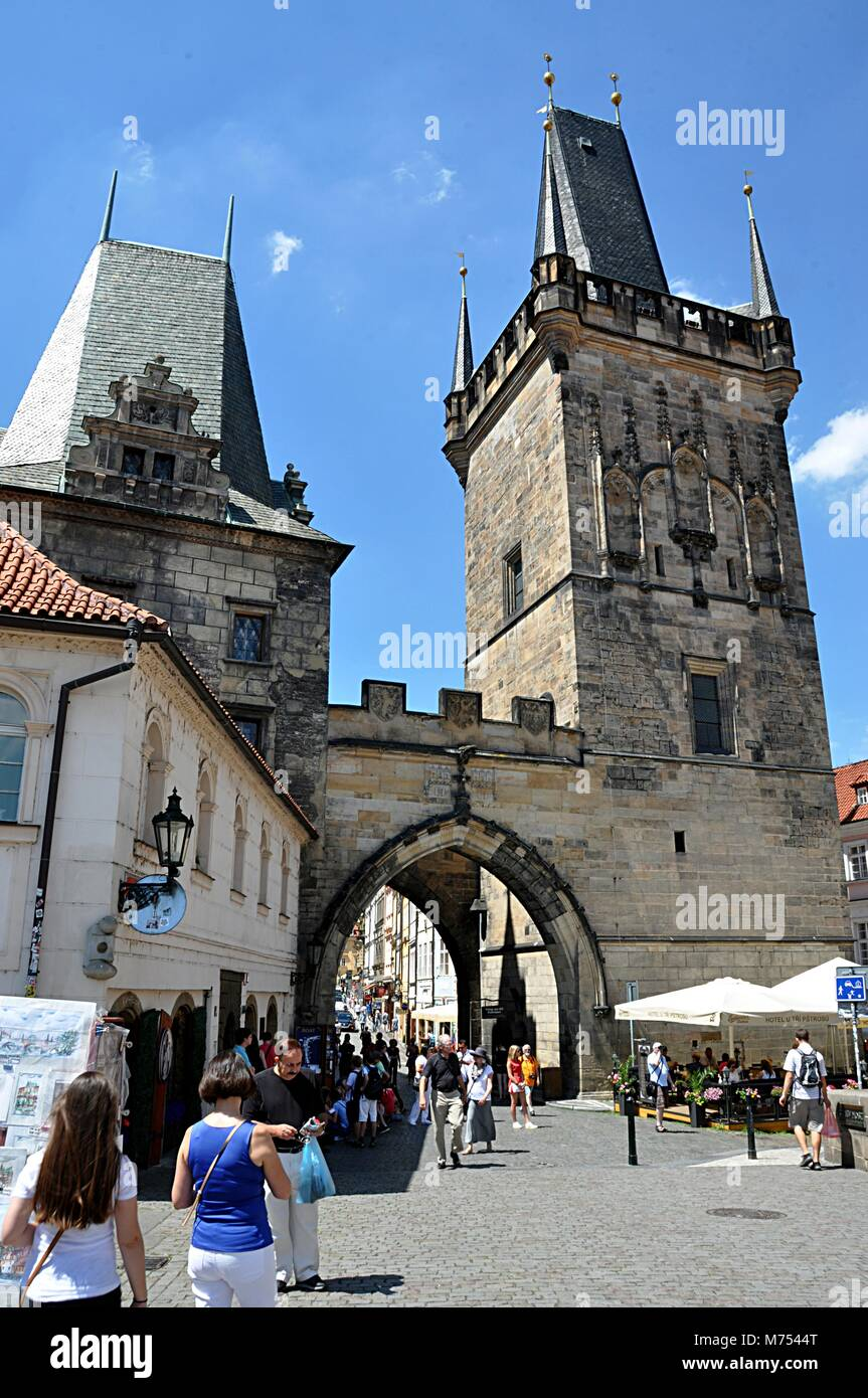 gate and city Praque, Czech republic, Europe - Stock Image