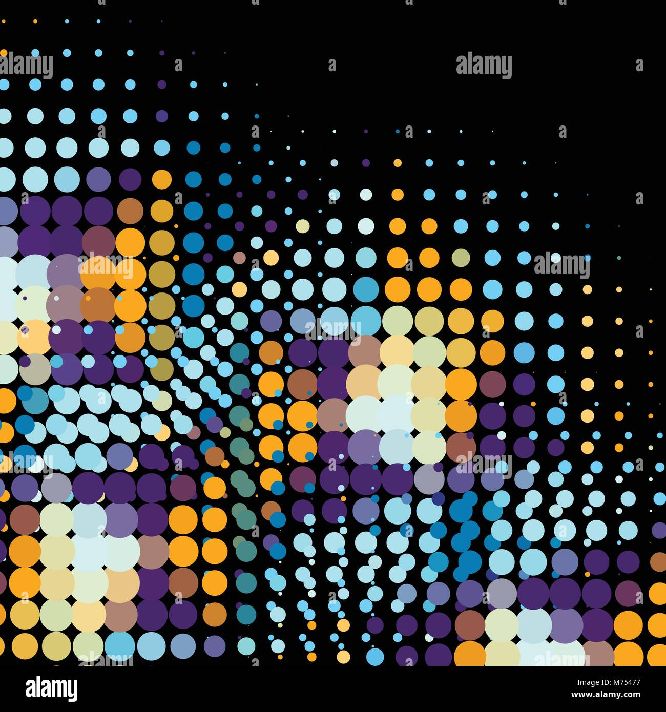 Disco background with halftone dots in retro style - Stock Image