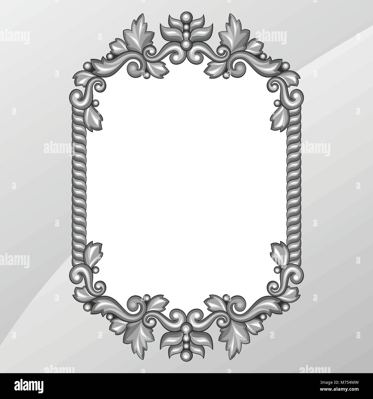 Baroque ornamental antique silver frame on white background Stock ...