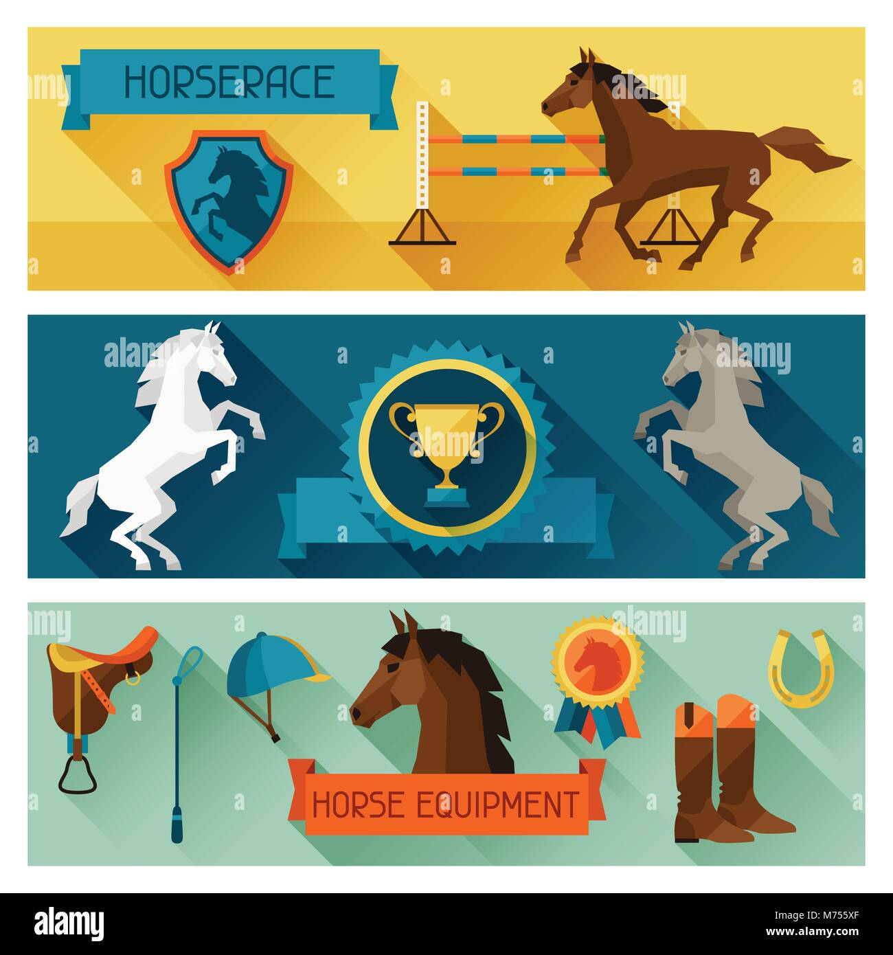 Horizontal banners with horse equipment in flat style - Stock Image